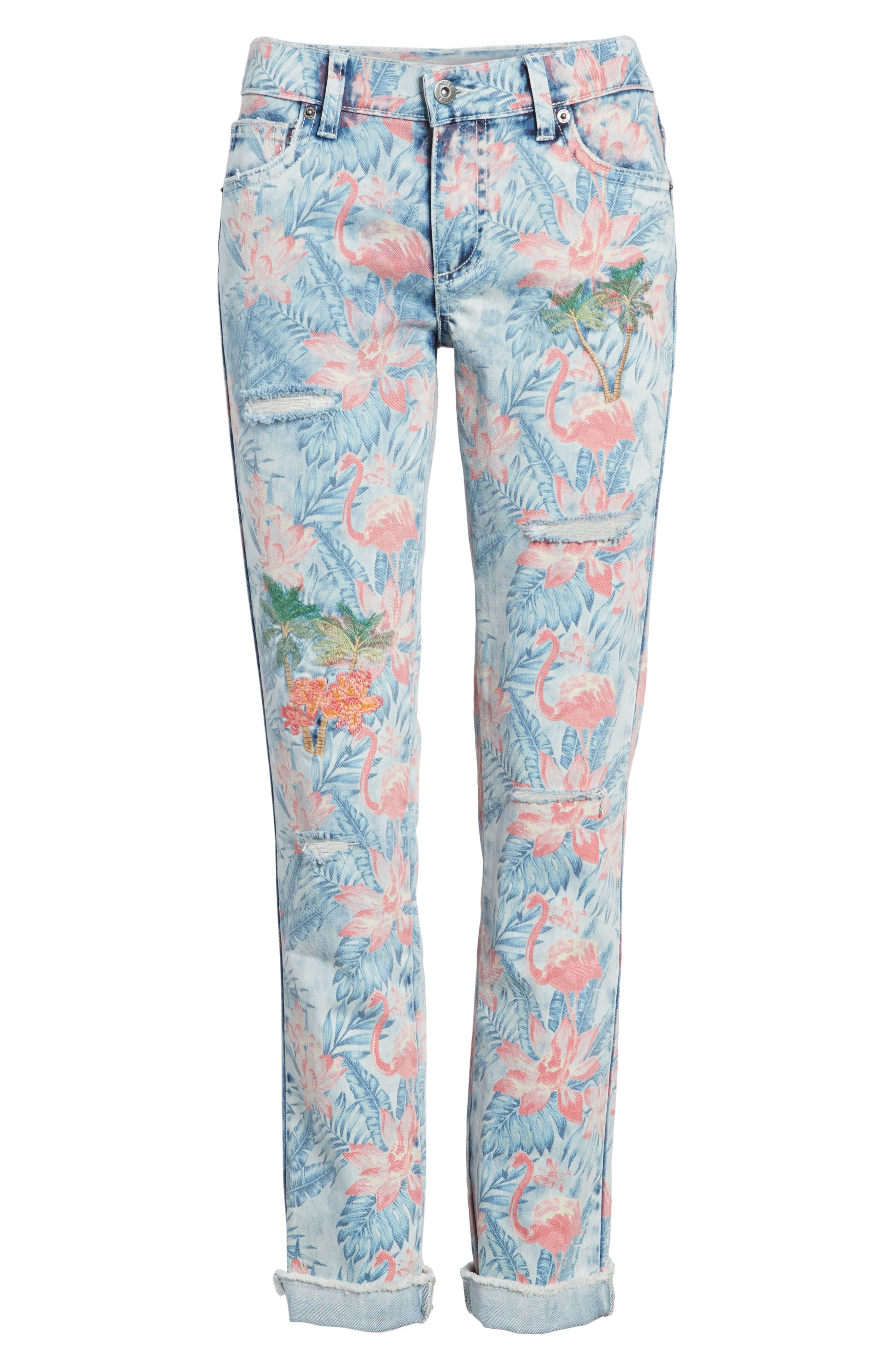 Embroidered Distressed Flamingo Jeans,                             Alternate thumbnail 6, color,                             450