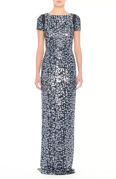 Carmen Marc Valvo Camo Sequin Column Gown, video thumbnail