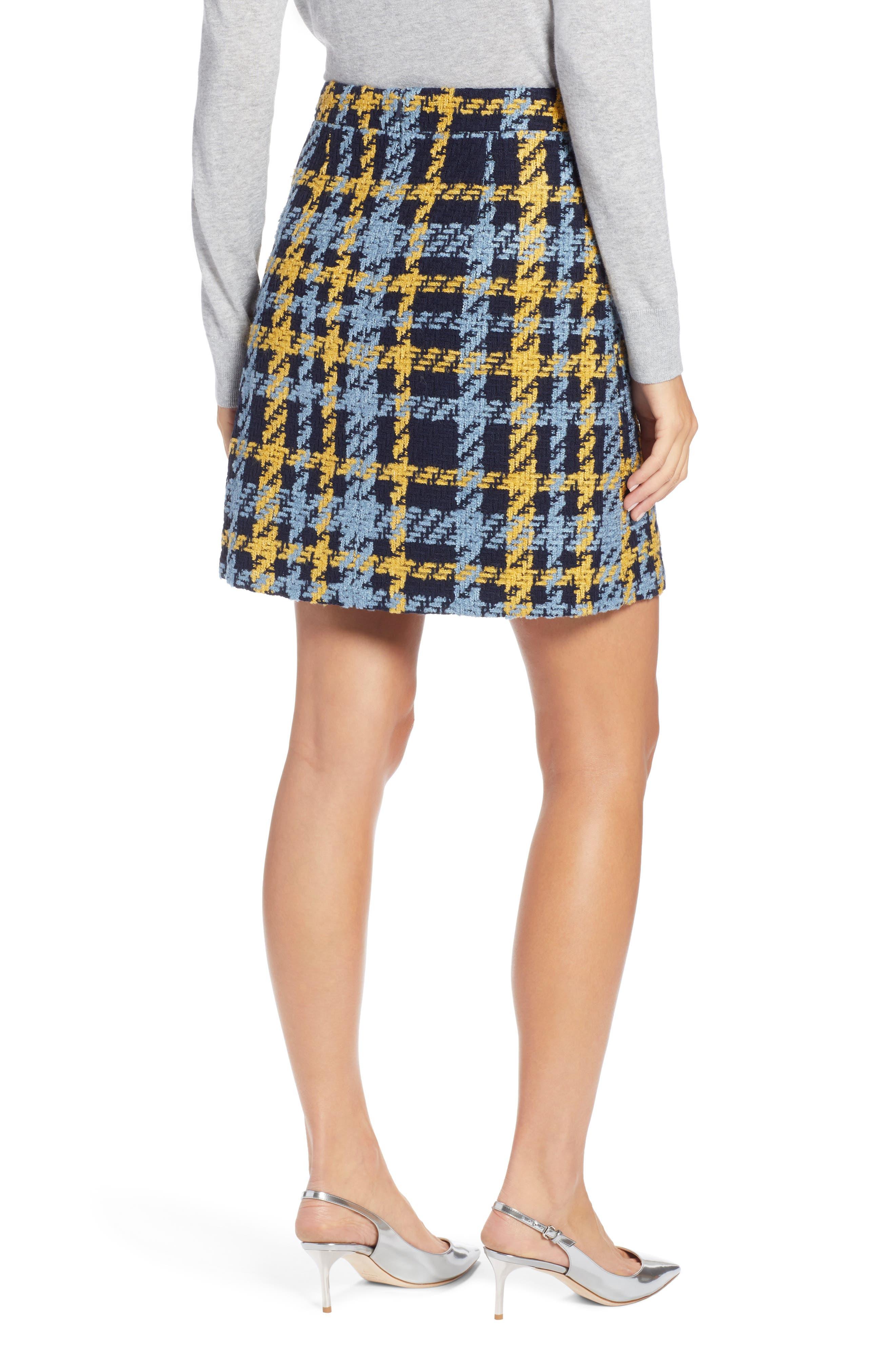 Button Detail Plaid Skirt,                             Alternate thumbnail 2, color,                             410