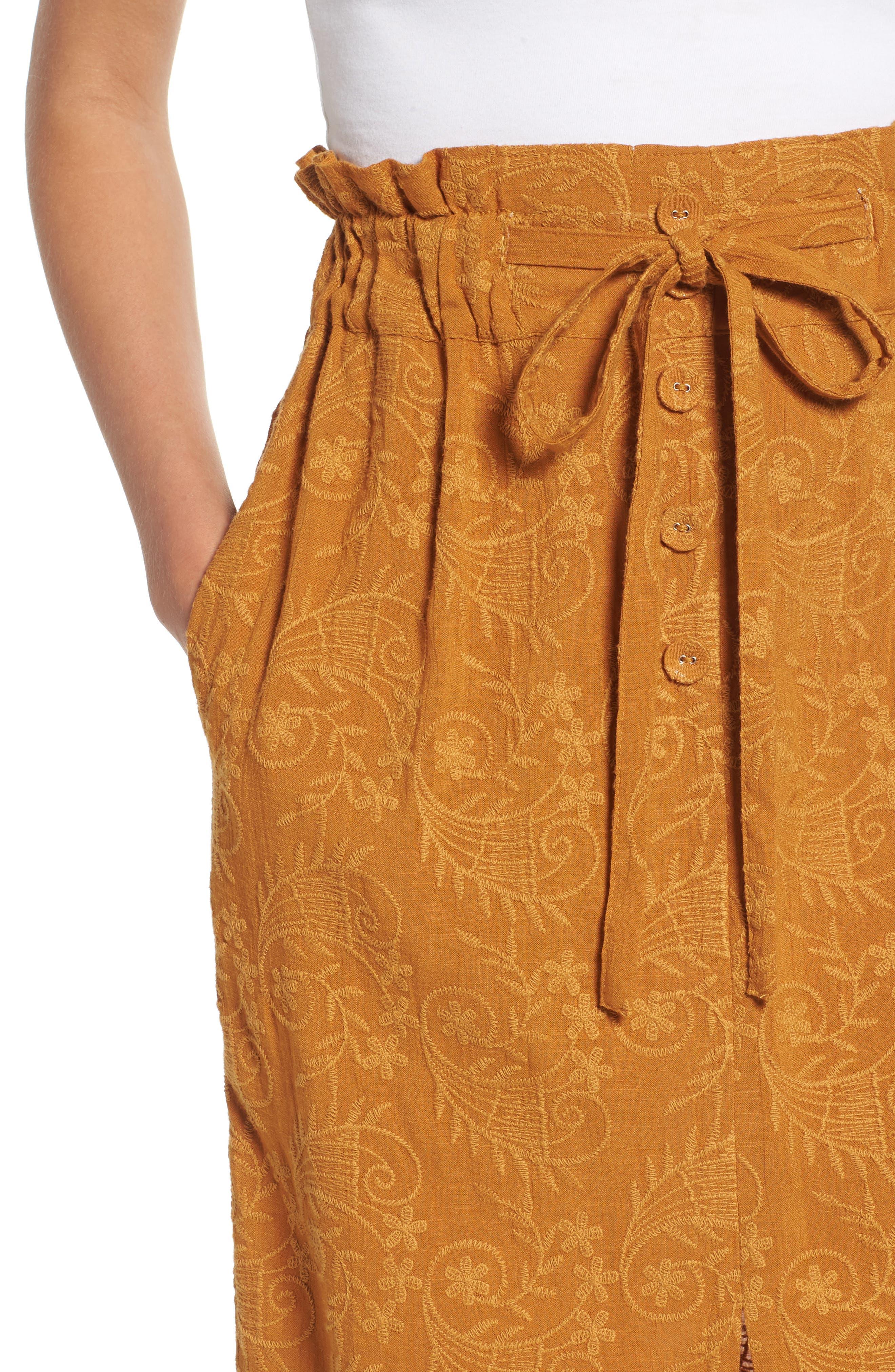 Embroidered Paperbag Waist Skirt,                             Alternate thumbnail 4, color,                             700