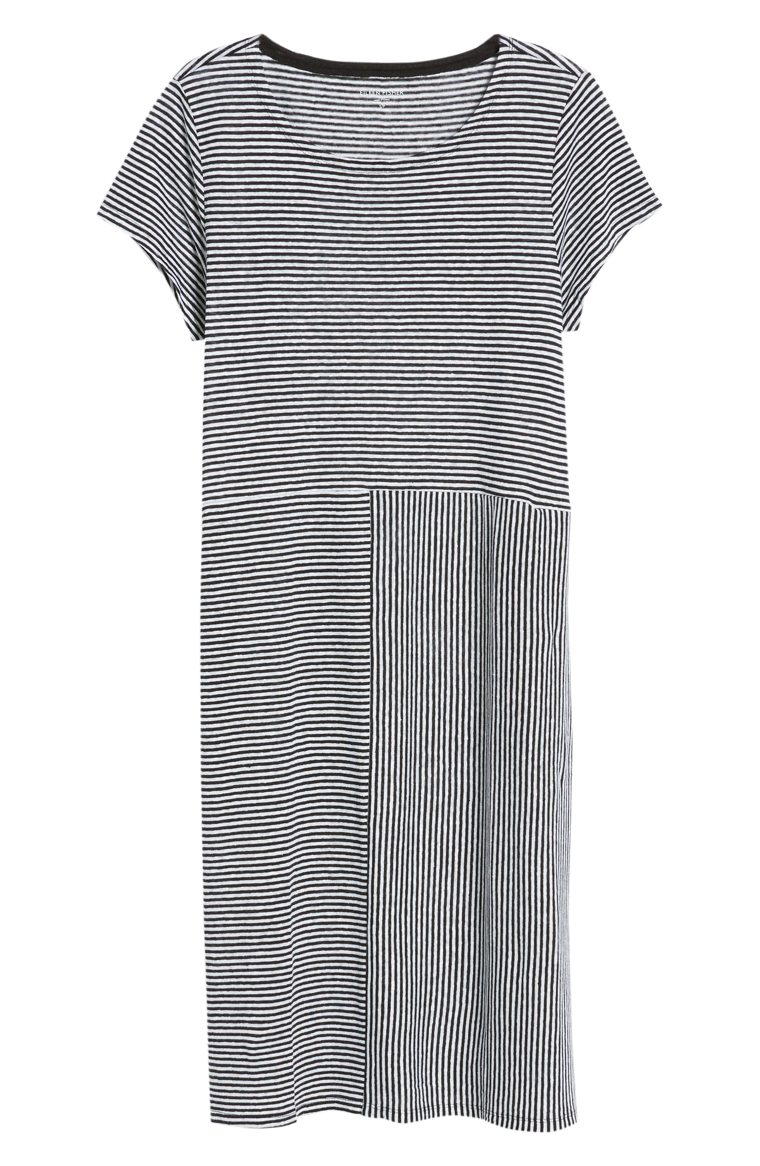 Stripe Organic Linen Jersey Shift Dress,                             Alternate thumbnail 7, color,                             BLACK/ WHITE