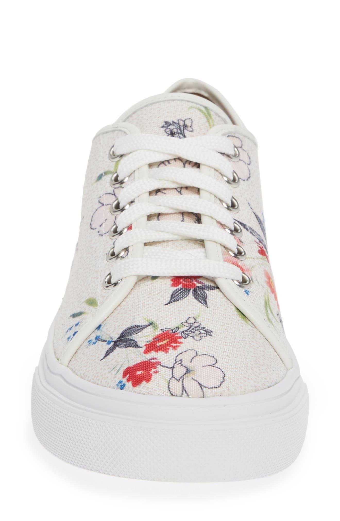 Ethan Low-Top Sneaker,                             Alternate thumbnail 4, color,                             WHITE FLORAL CANVAS