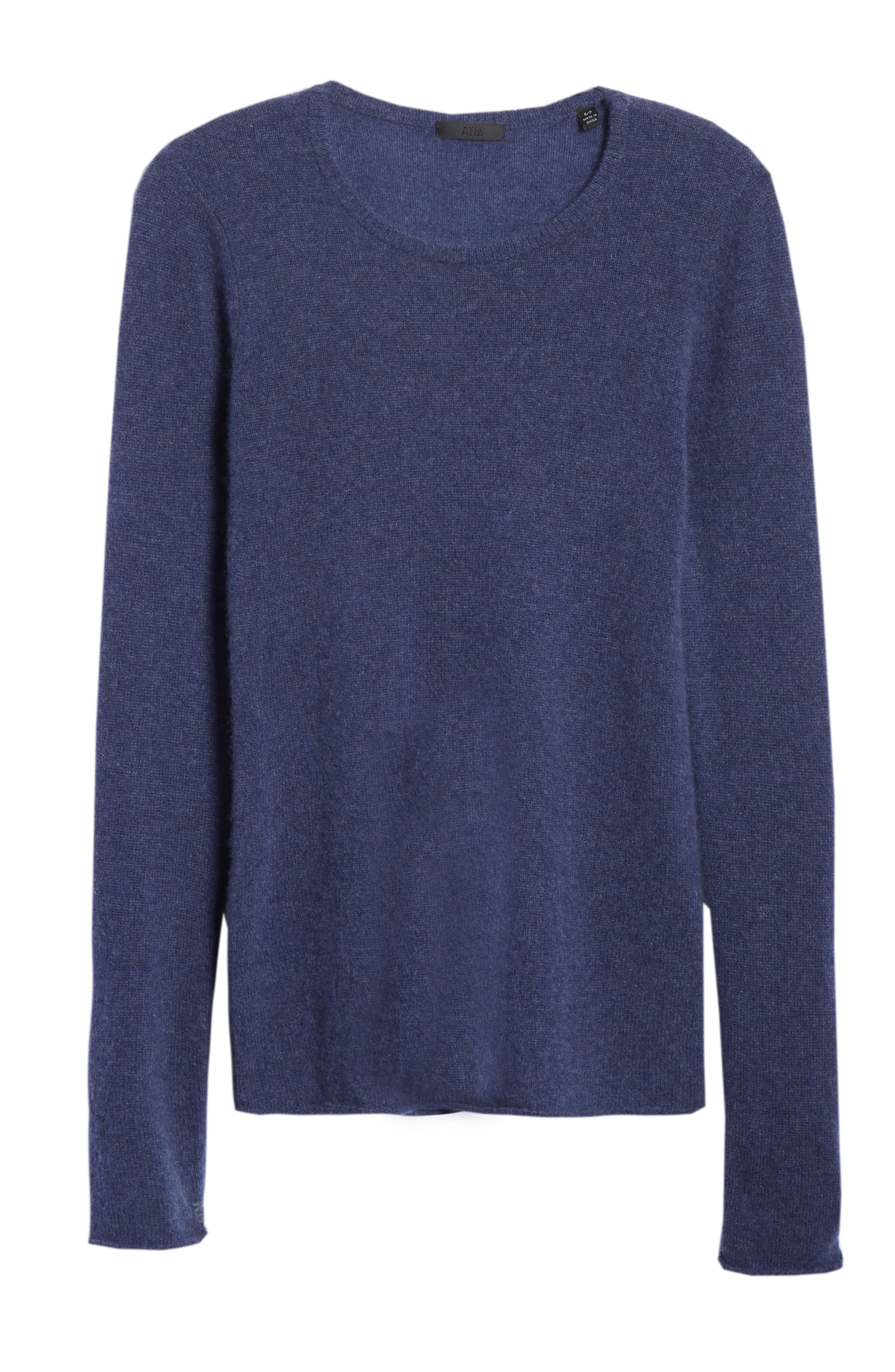 Cashmere Sweater,                             Alternate thumbnail 6, color,                             HEATHER NAVY
