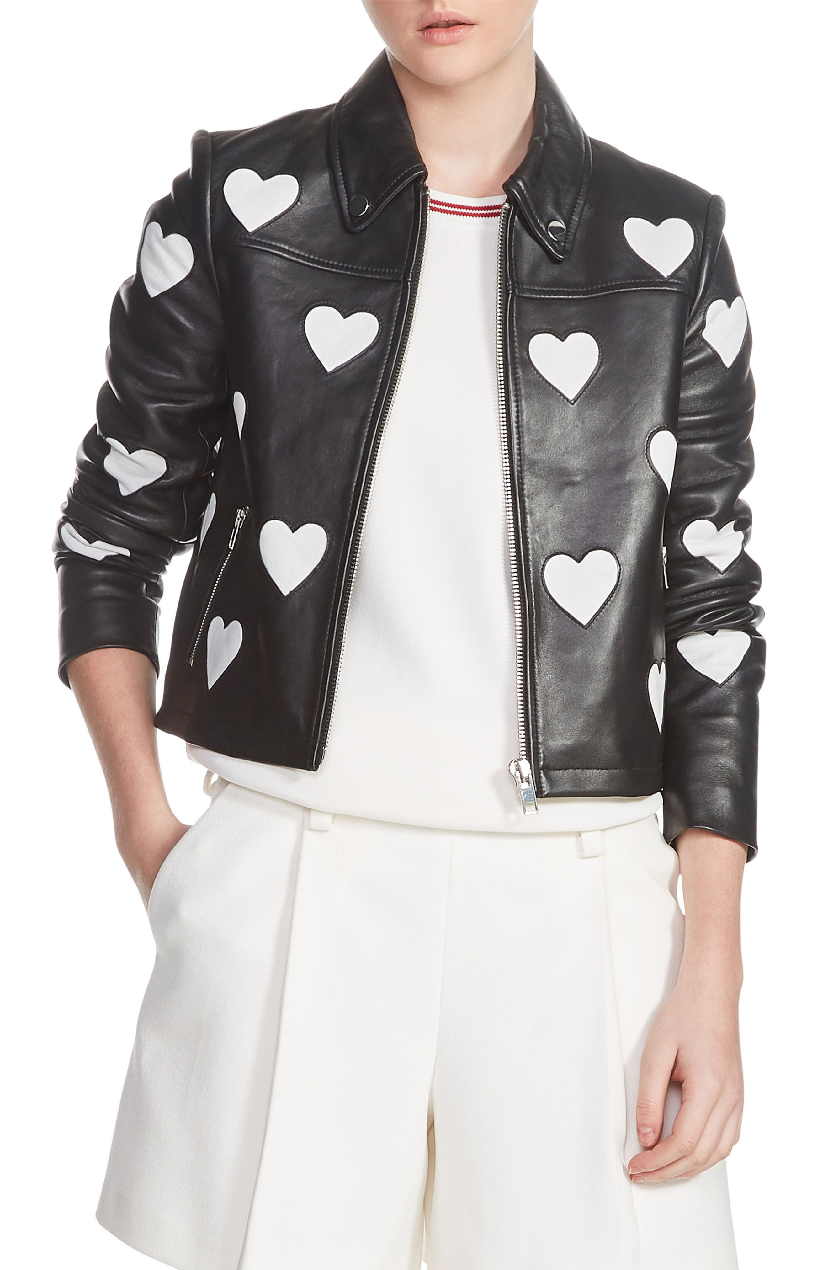 Heart Inset Leather Jacket,                             Main thumbnail 1, color,                             001