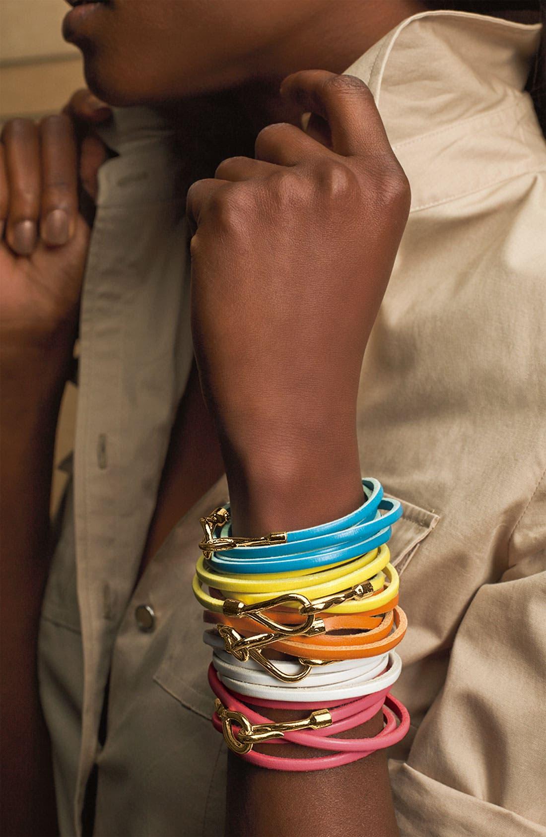 Couture Leather Wrap Bracelet,                             Alternate thumbnail 4, color,                             001