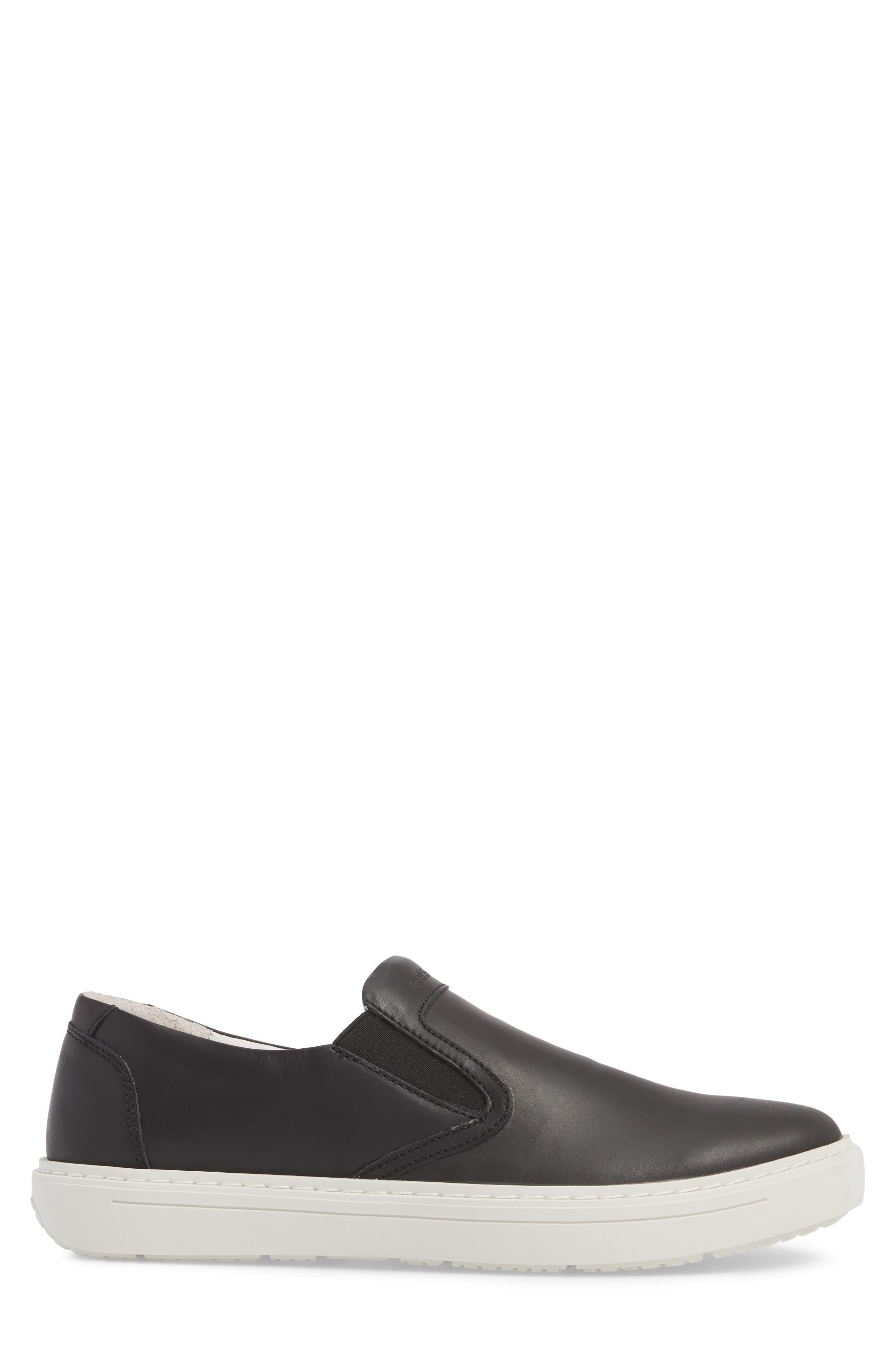 Quentin 15 Slip-On Sneaker,                             Alternate thumbnail 3, color,                             BLACK LEATHER