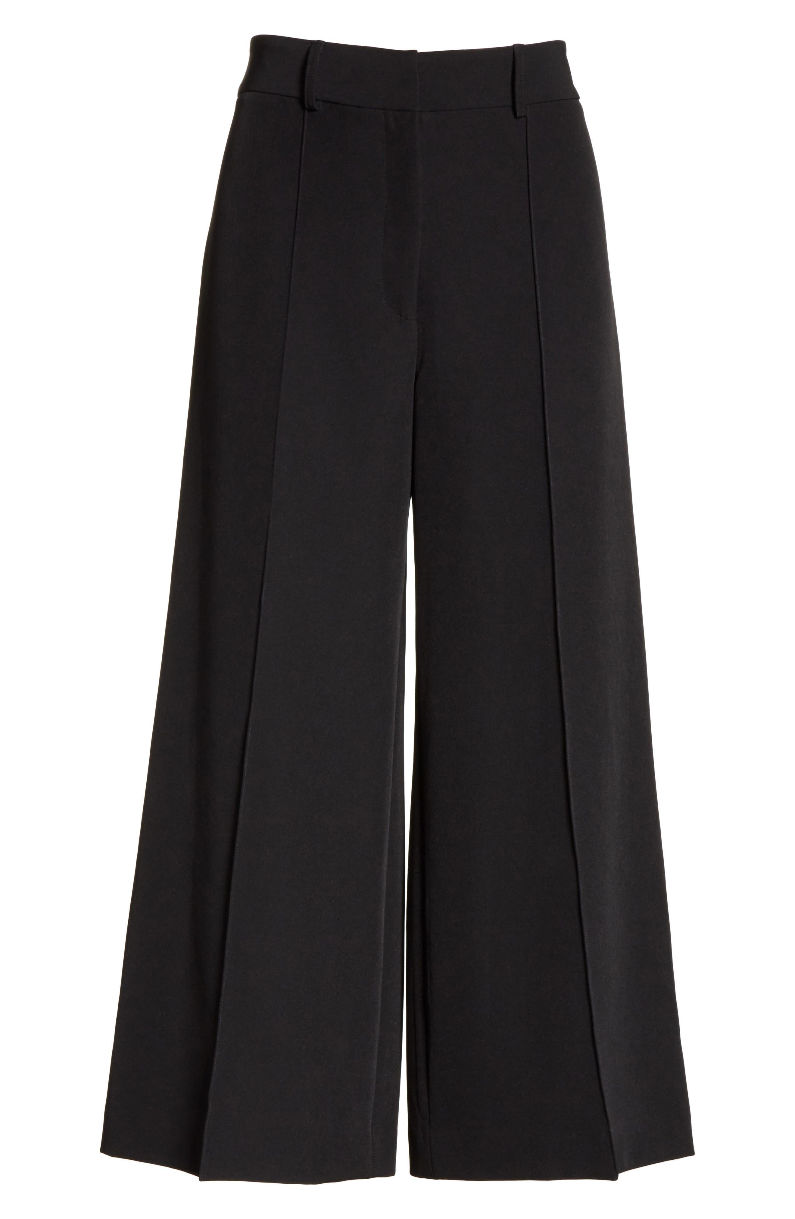 Hayden Crop Wide Leg Pants,                             Alternate thumbnail 6, color,                             BLACK