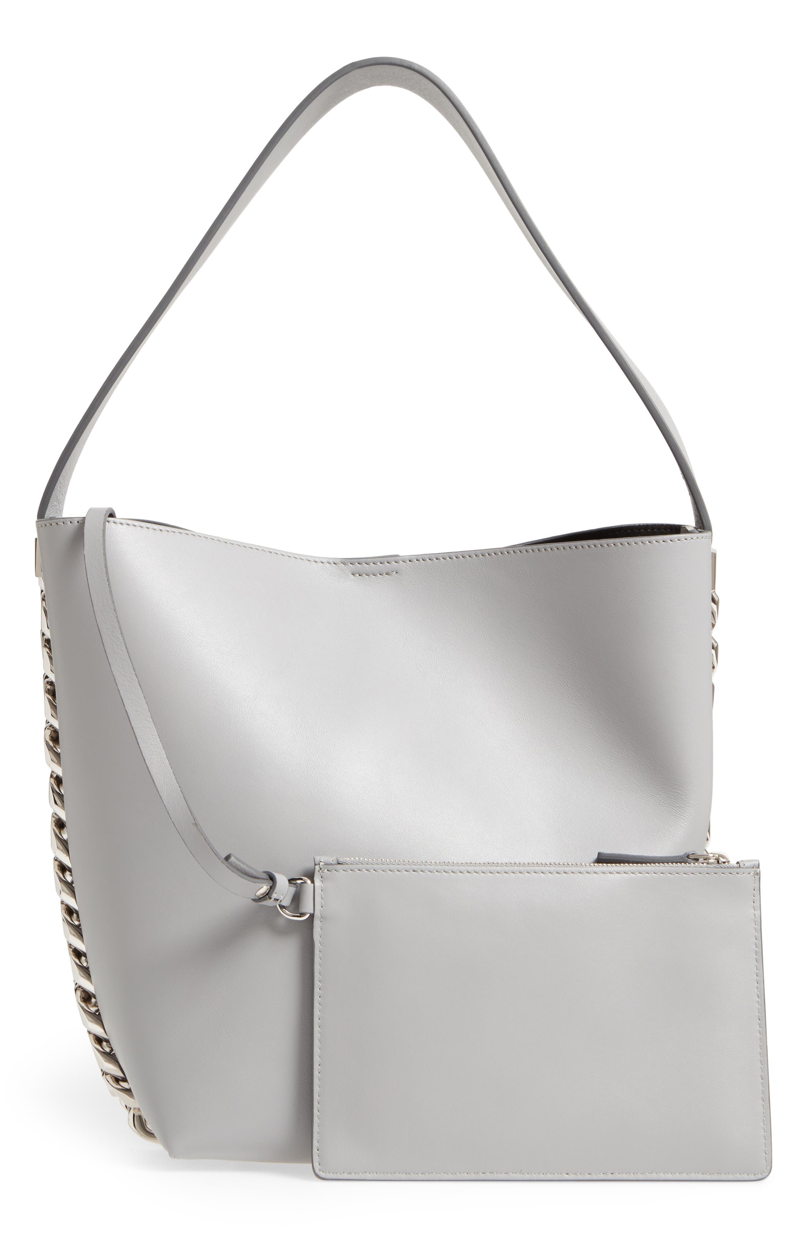 Infinity Calfskin Leather Bucket Bag,                             Alternate thumbnail 3, color,                             051