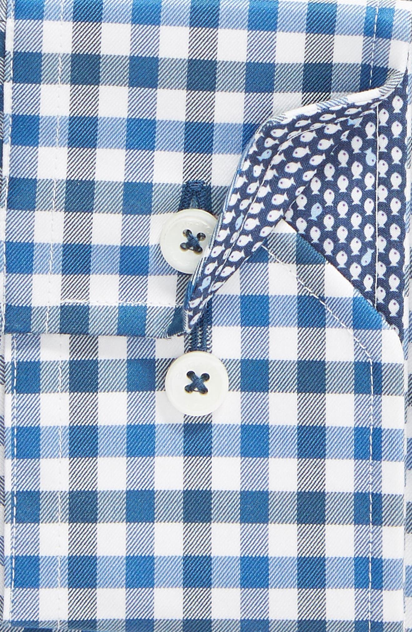 Trim Fit Check Dress Shirt,                             Alternate thumbnail 6, color,                             CLASSIC BLUE