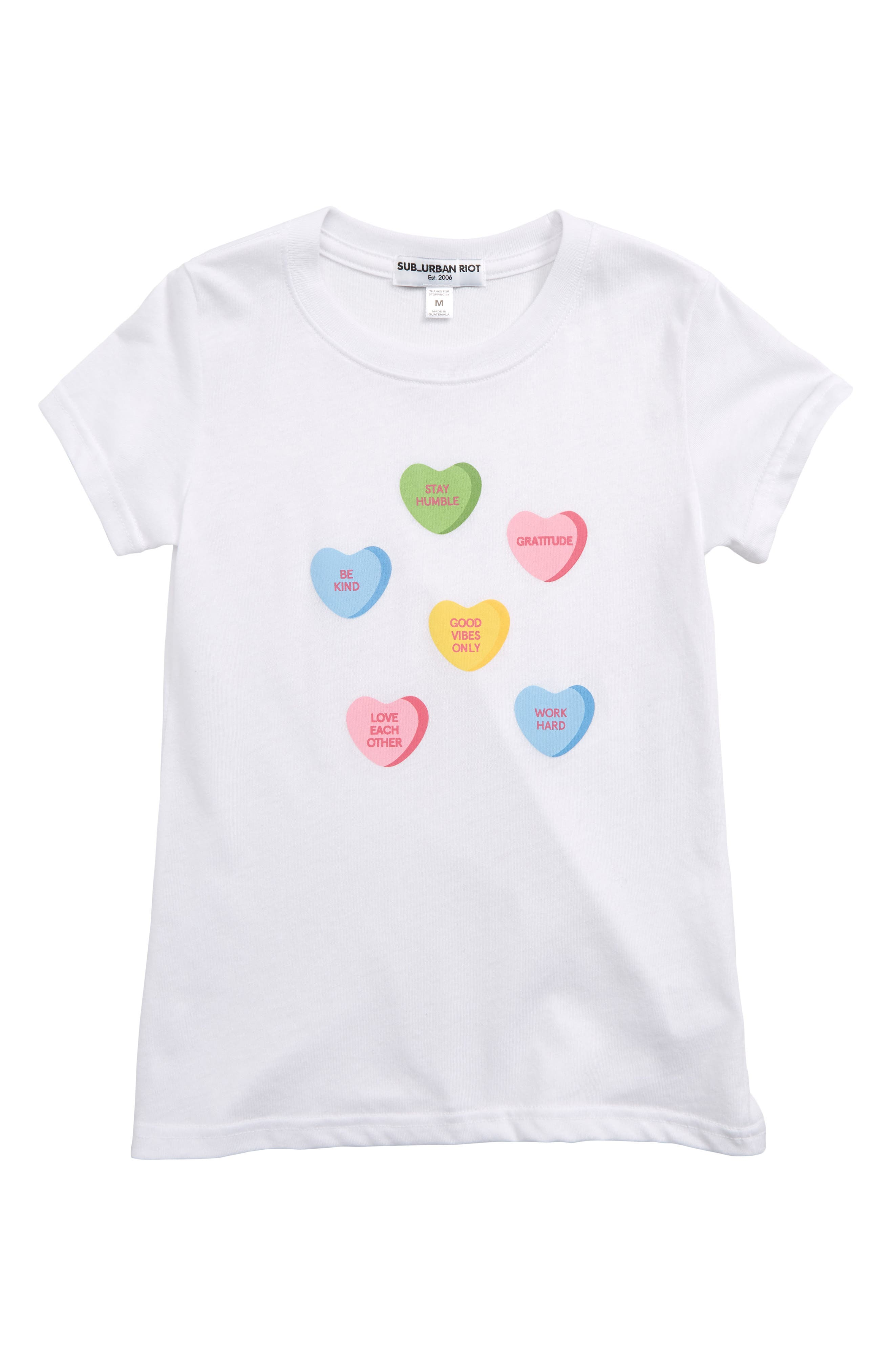 Candy Hearts Tee, Main, color, WHITE