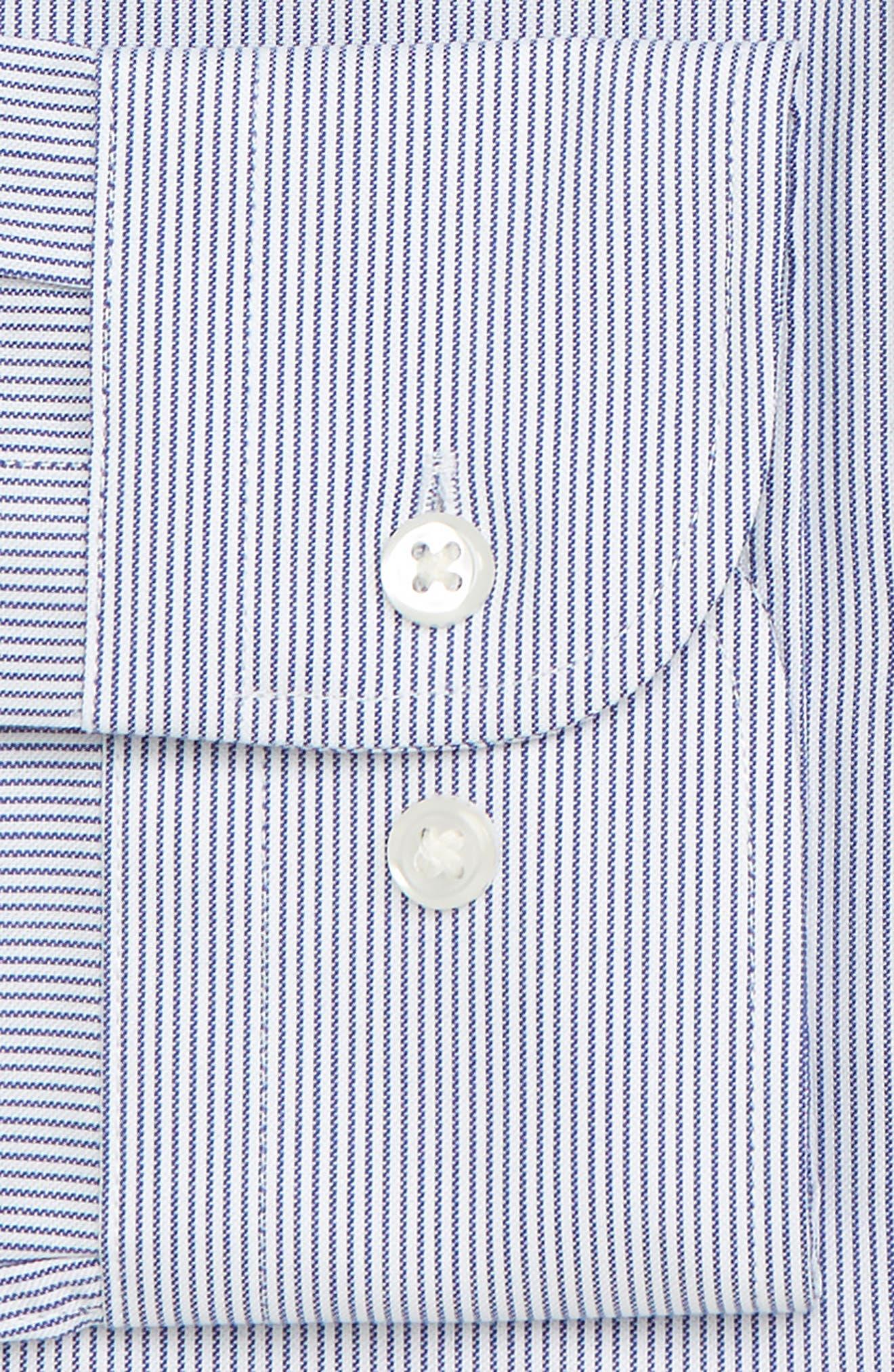 Trim Fit Non-Iron Stripe Dress Shirt,                             Alternate thumbnail 6, color,                             NAVY PATRIOT