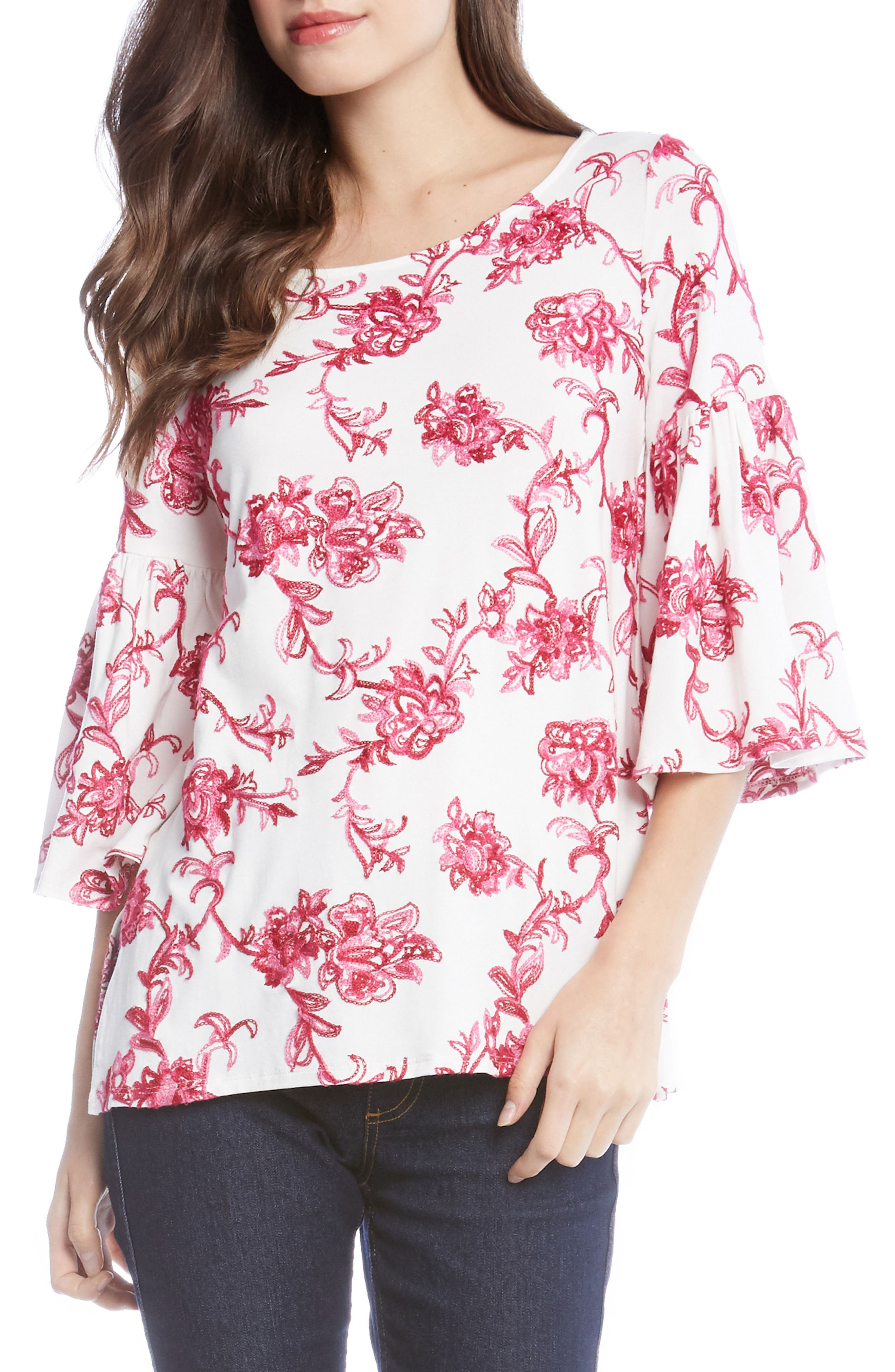 Embroidered Knit Top,                         Main,                         color, PINK