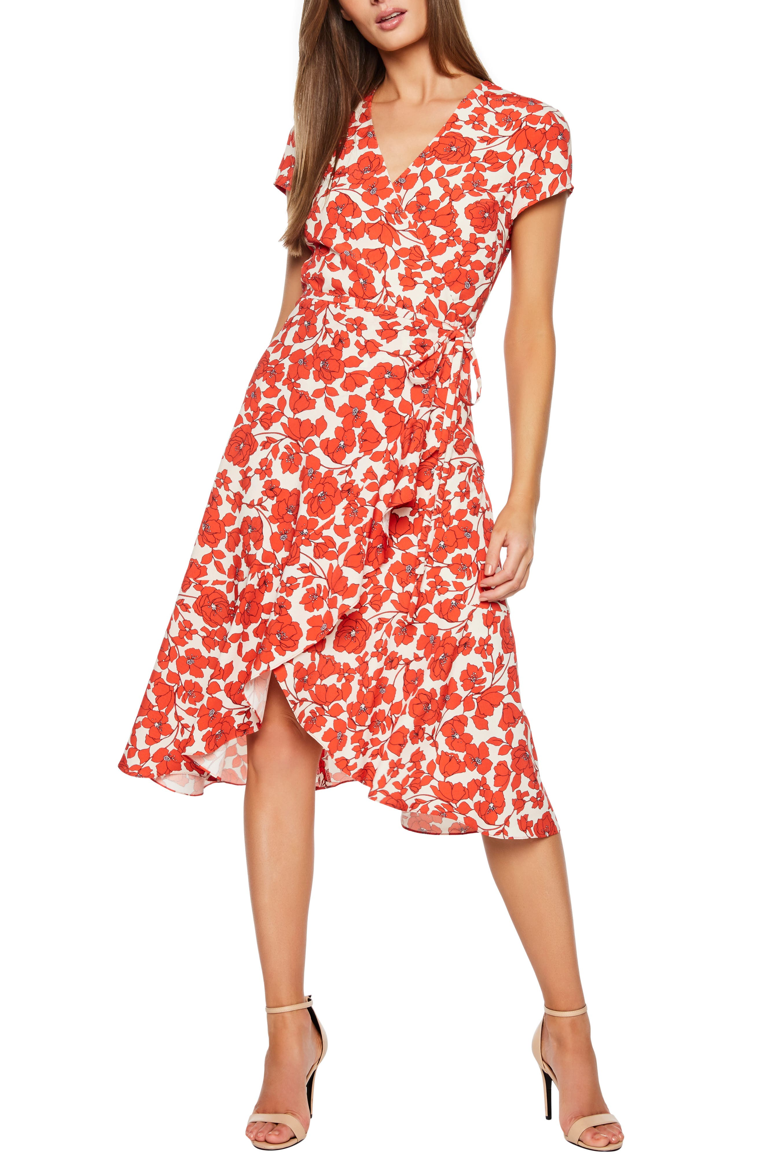 BARDOT,                             Fiesta Floral Midi Dress,                             Main thumbnail 1, color,                             ORANGE FLORAL