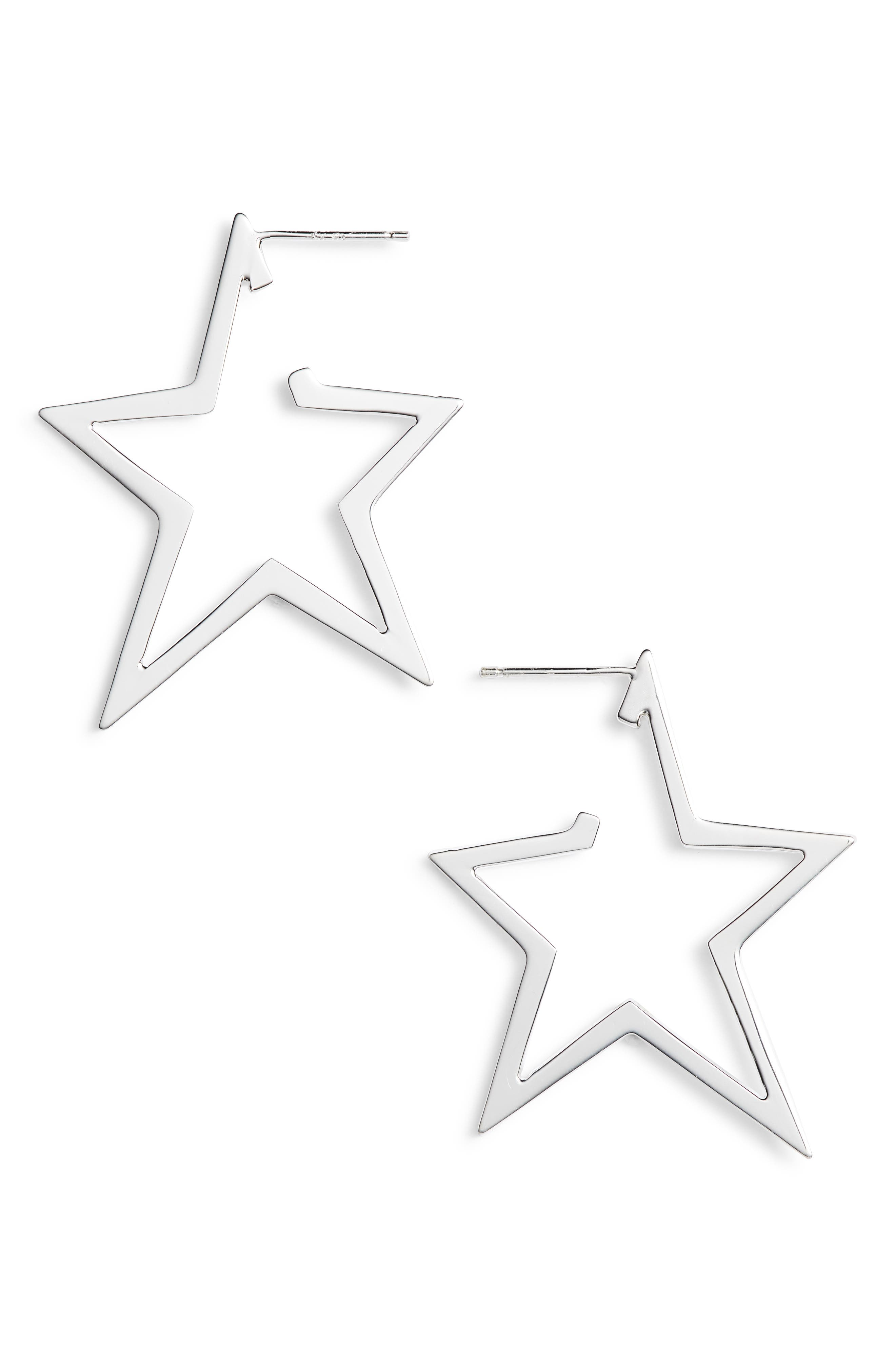 Sade Star Hoop Earrings,                             Main thumbnail 1, color,                             STERLING SILVER