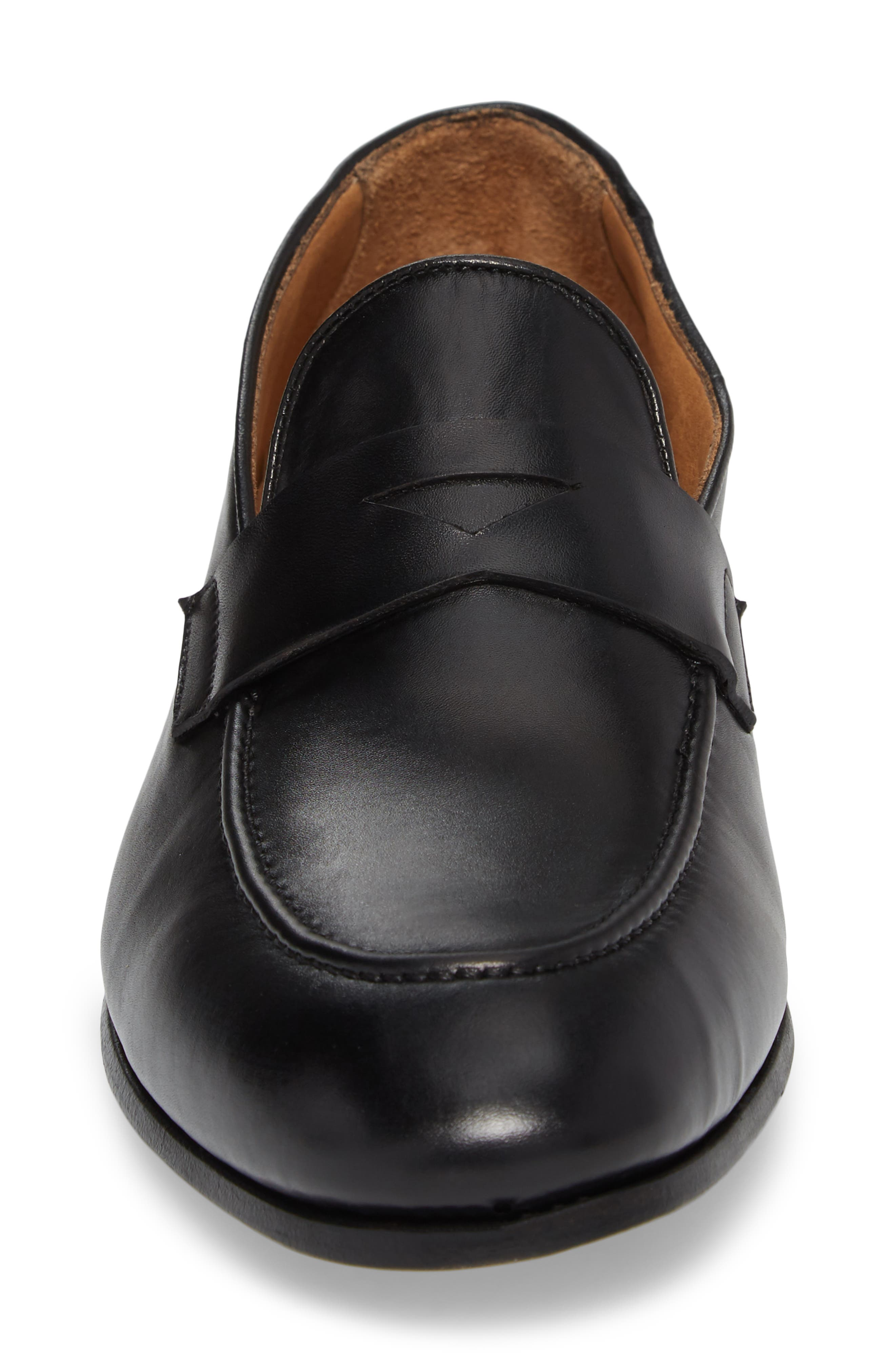 Alejo Apron Toe Penny Loafer,                             Alternate thumbnail 4, color,                             BLACK LEATHER