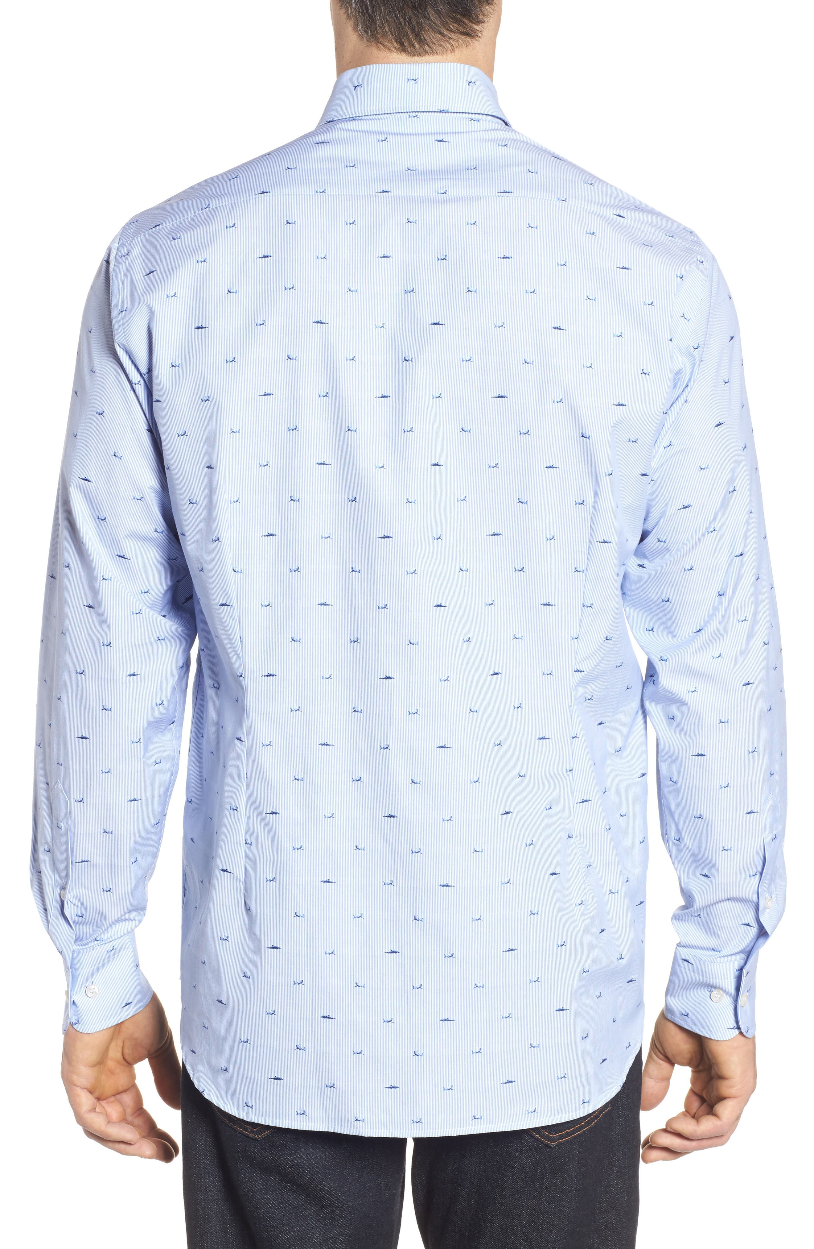 Paul&Shark Great White Jacquard Sport Shirt,                             Alternate thumbnail 2, color,