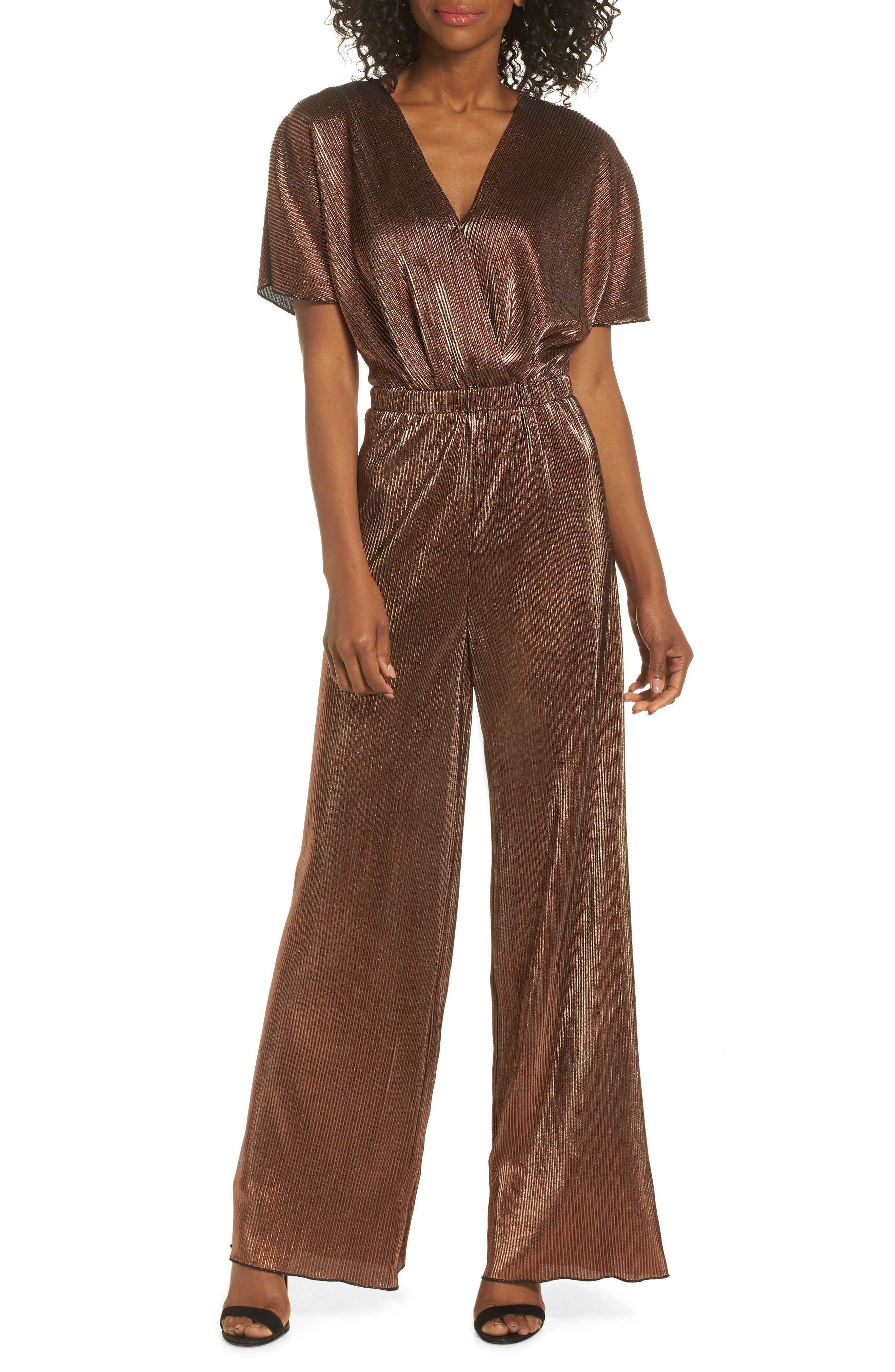 CHARLES HENRY Crossover Jumpsuit in Bronze