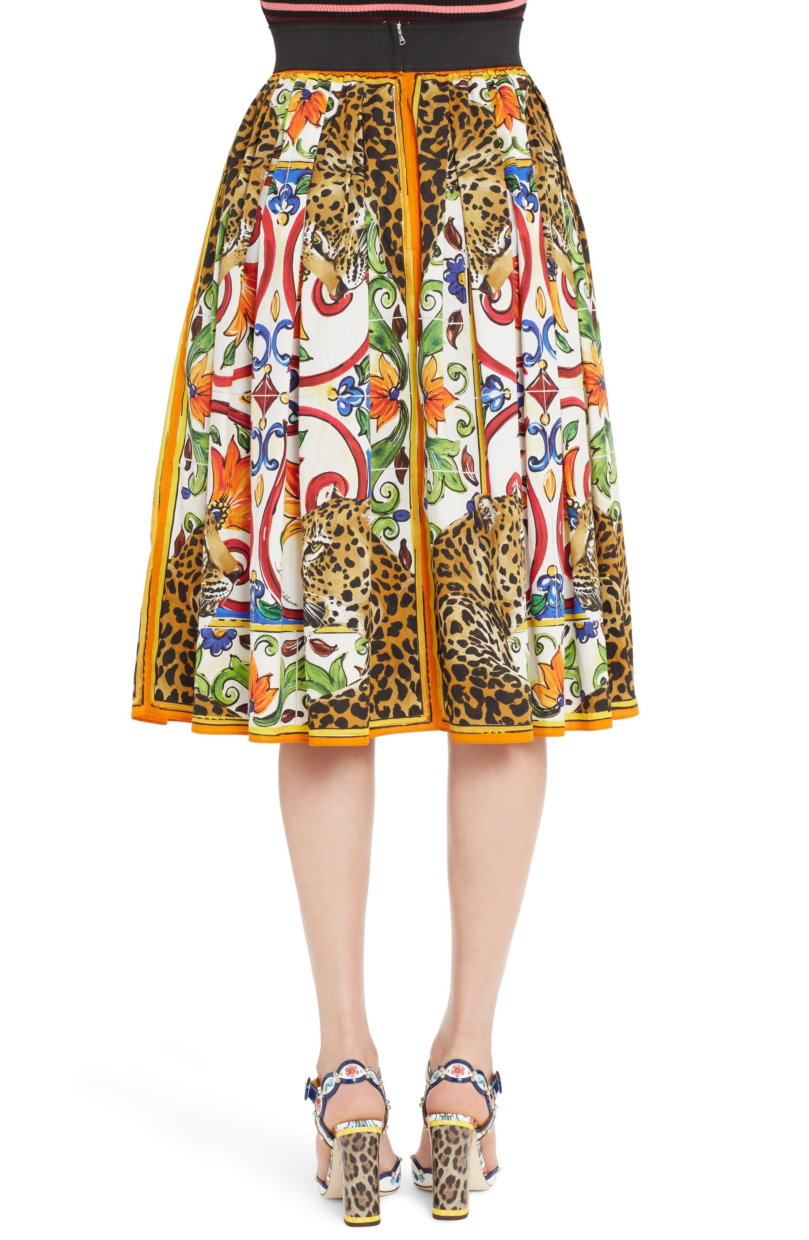 Maiolica Print Cotton Skirt,                             Alternate thumbnail 2, color,                             115