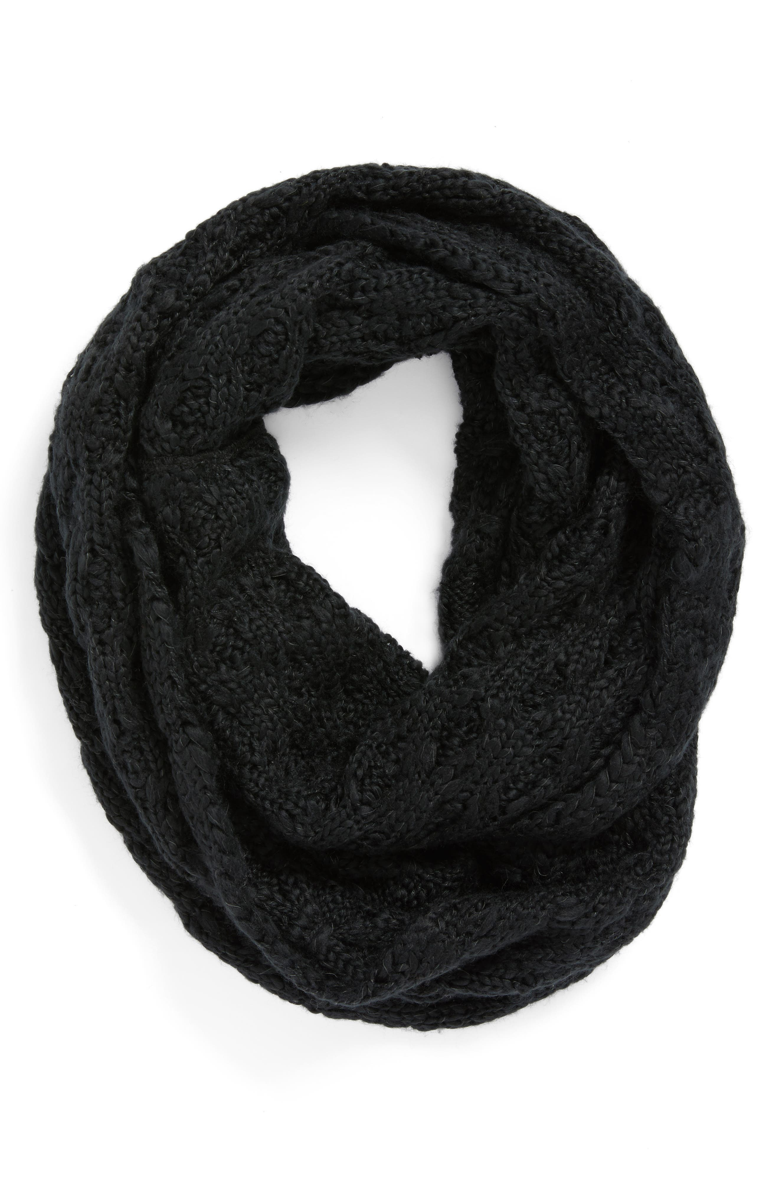 Solid Chunky Knit Infinity Scarf,                             Alternate thumbnail 2, color,                             001