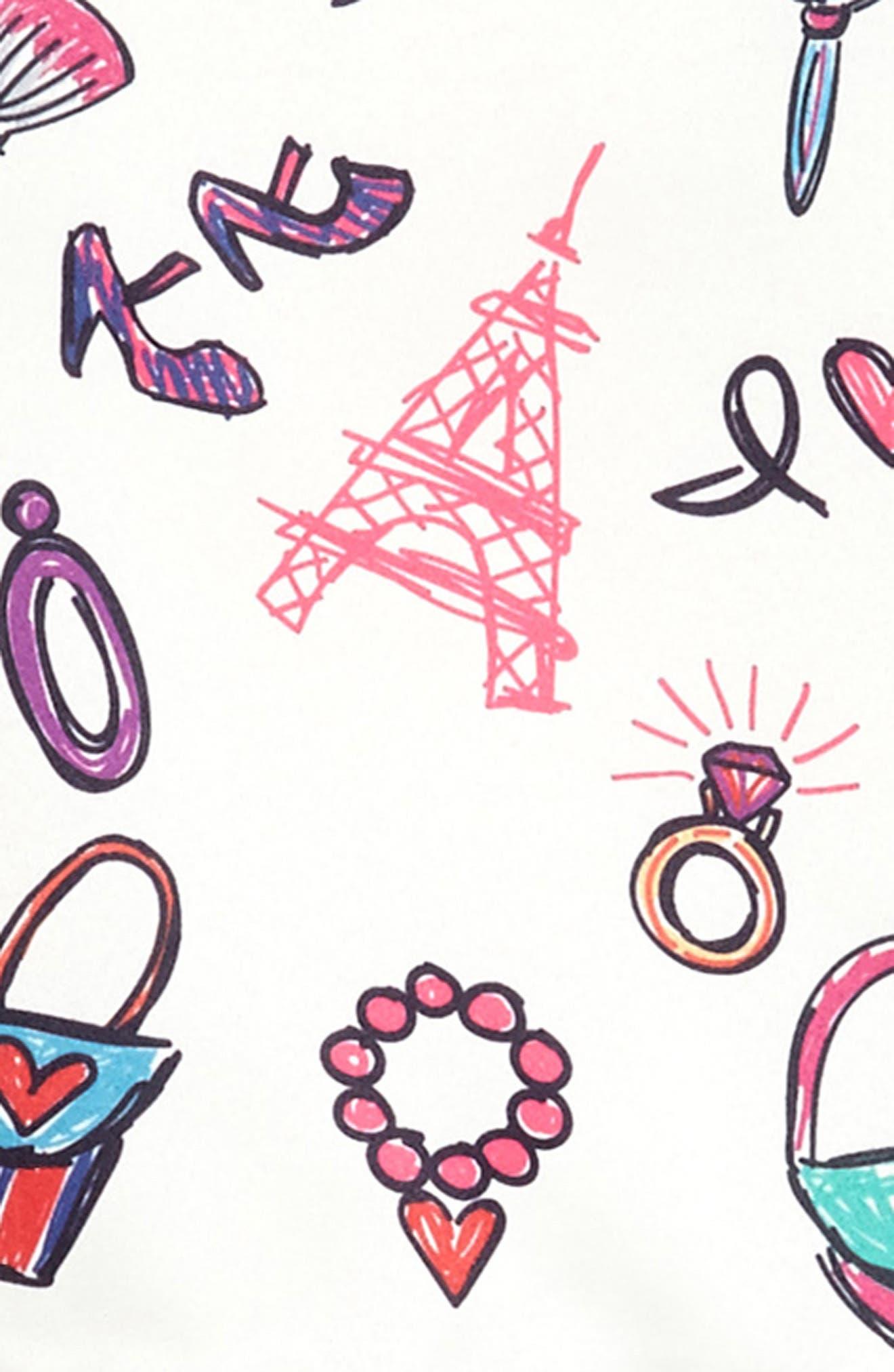 Fashion Print Fit & Flare Dress,                             Alternate thumbnail 3, color,