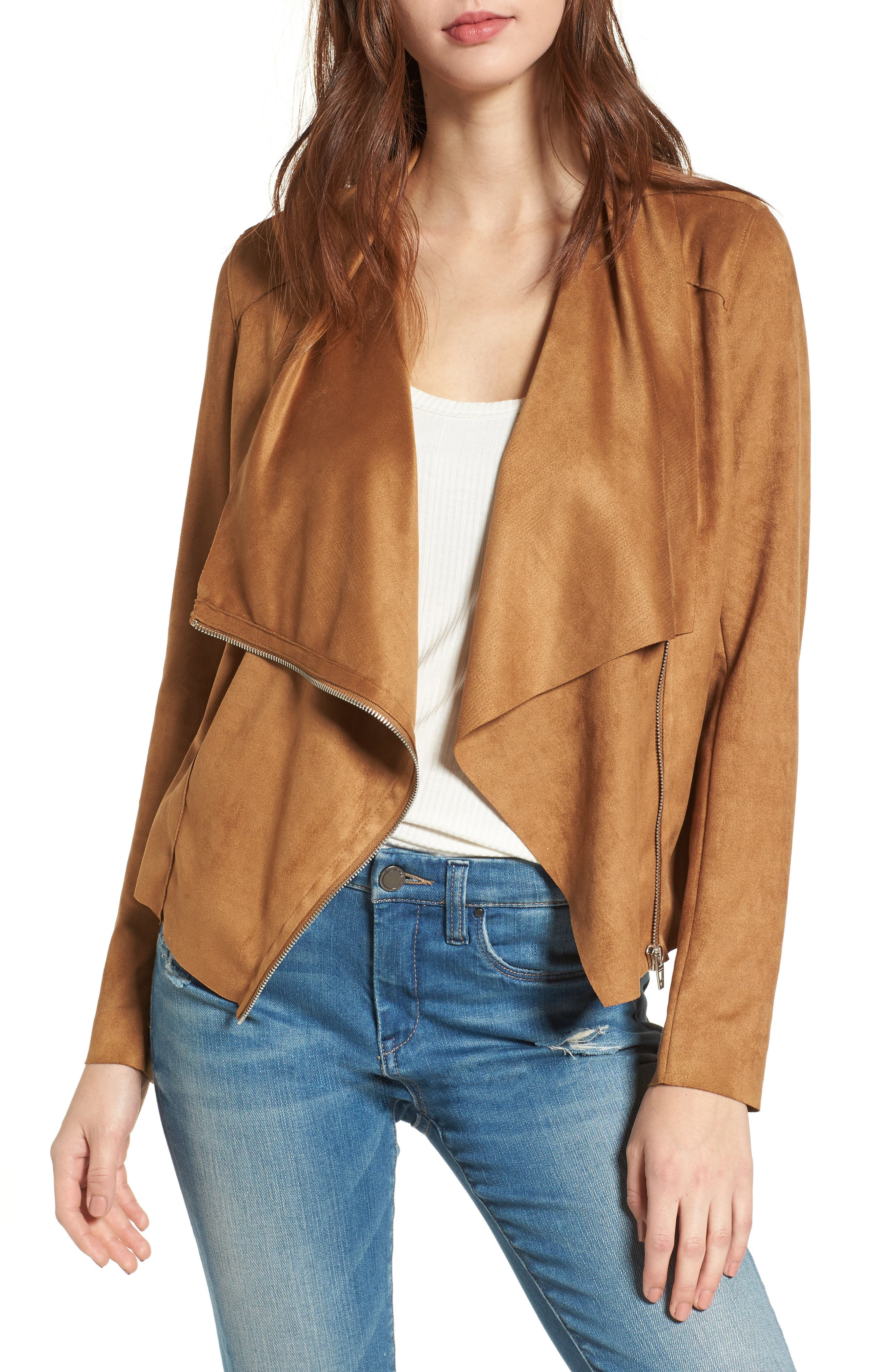 BLANKNYC,                             Drape Front Faux Suede Jacket,                             Main thumbnail 1, color,                             CAMEL BACK BROWN
