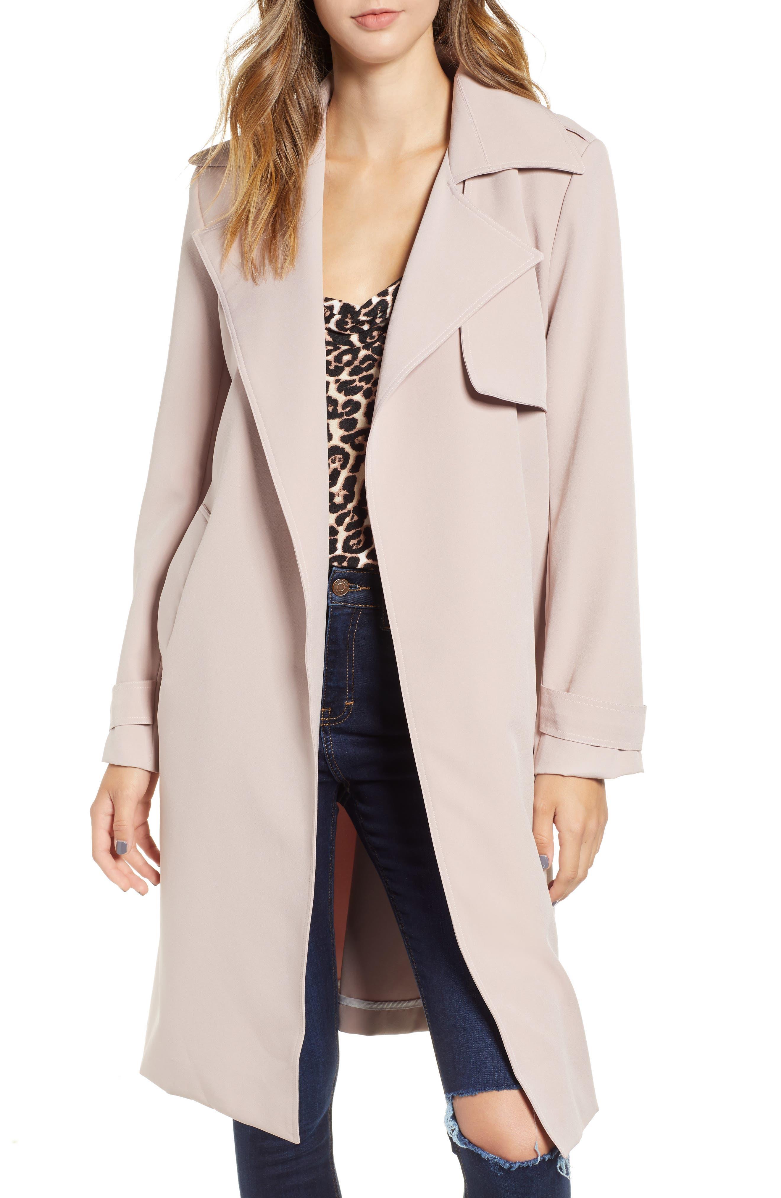 Trench Coat,                         Main,                         color, PINK ROSE CLOUD