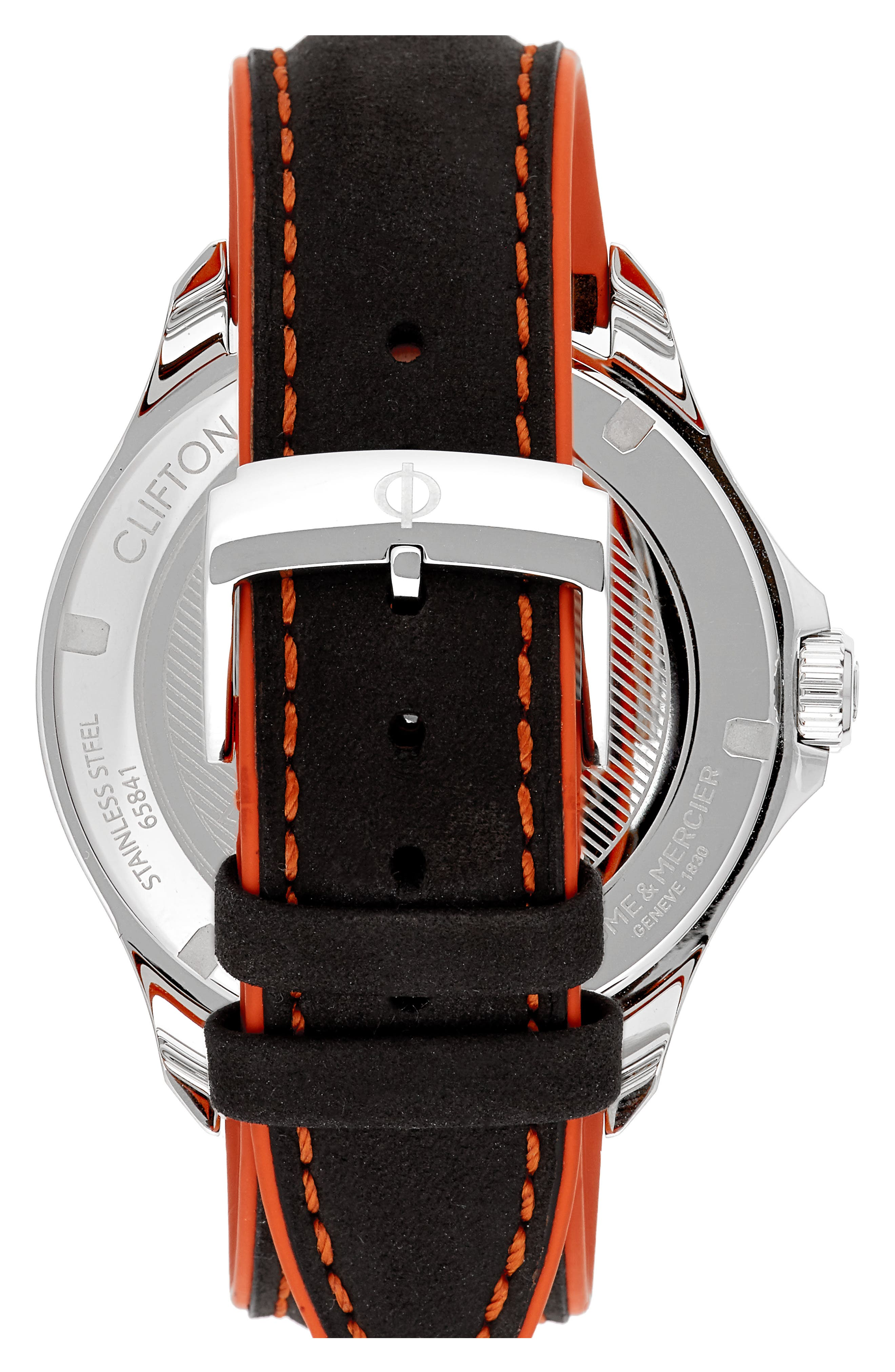Clifton Leather Strap Watch, 42mm,                             Alternate thumbnail 2, color,                             BLACK/BLACK