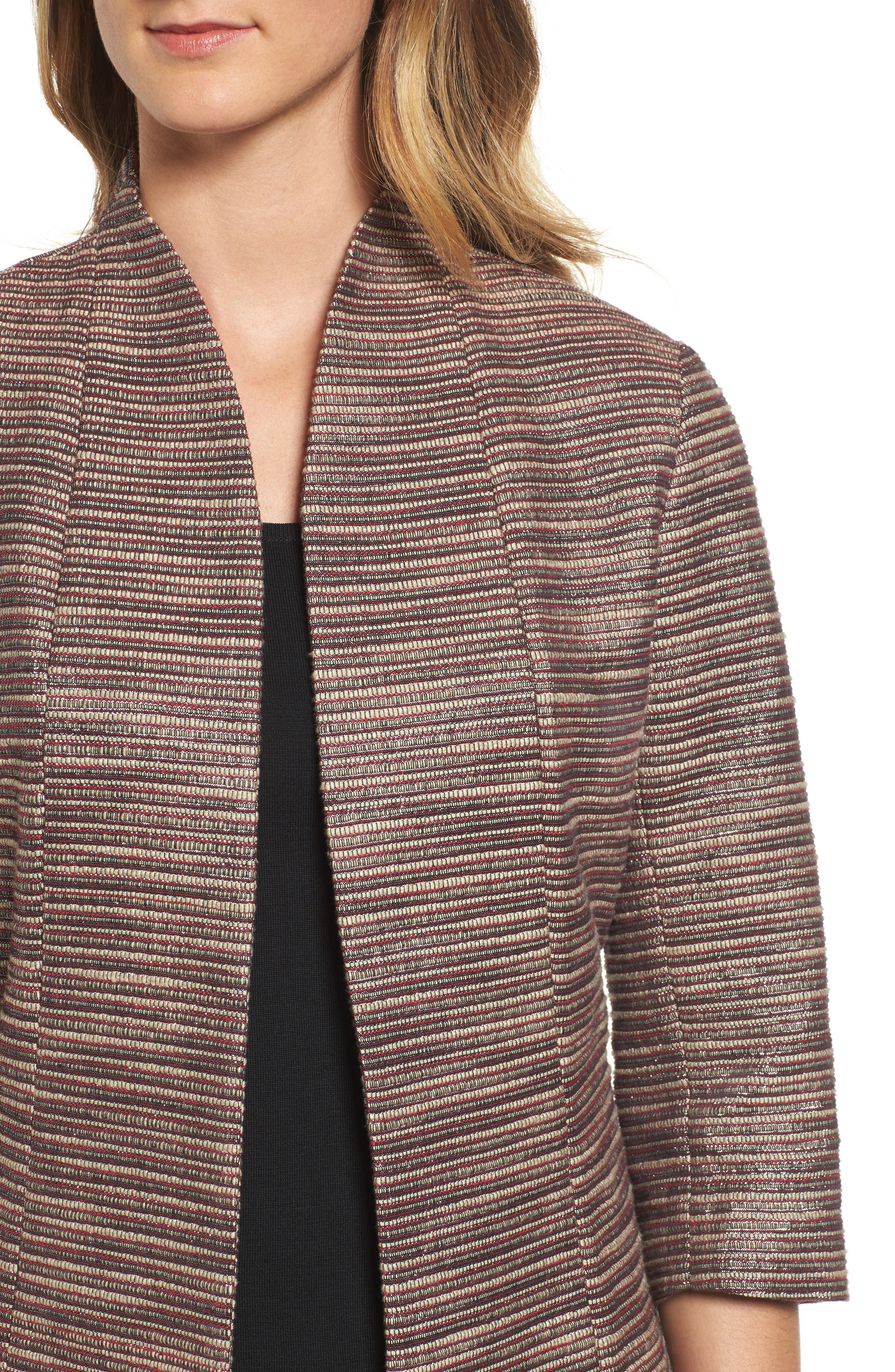 Ribbed Metallic Tweed Jacket,                             Alternate thumbnail 4, color,                             657
