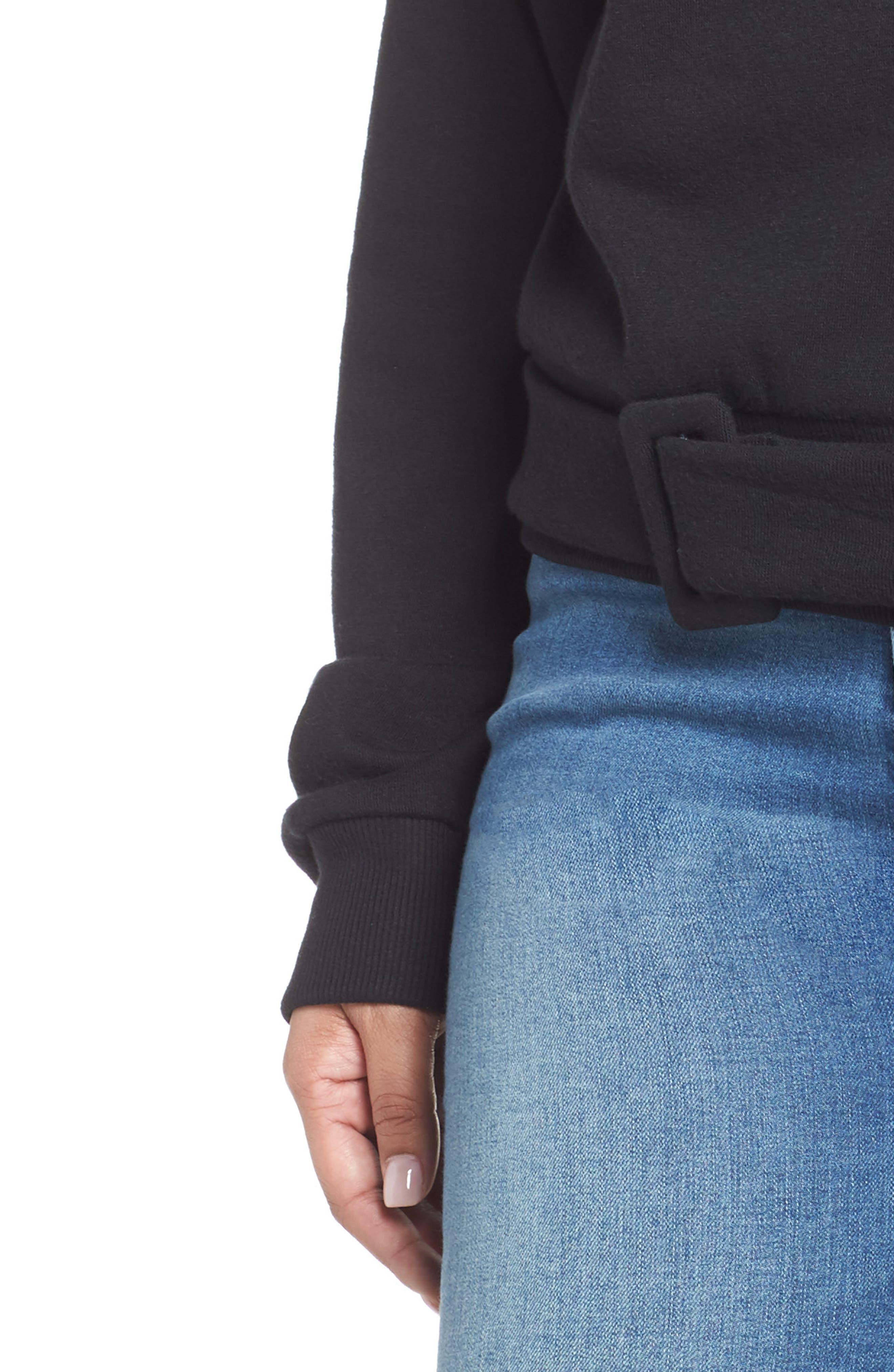 Belted Fleece Sweatshirt,                             Alternate thumbnail 4, color,                             001