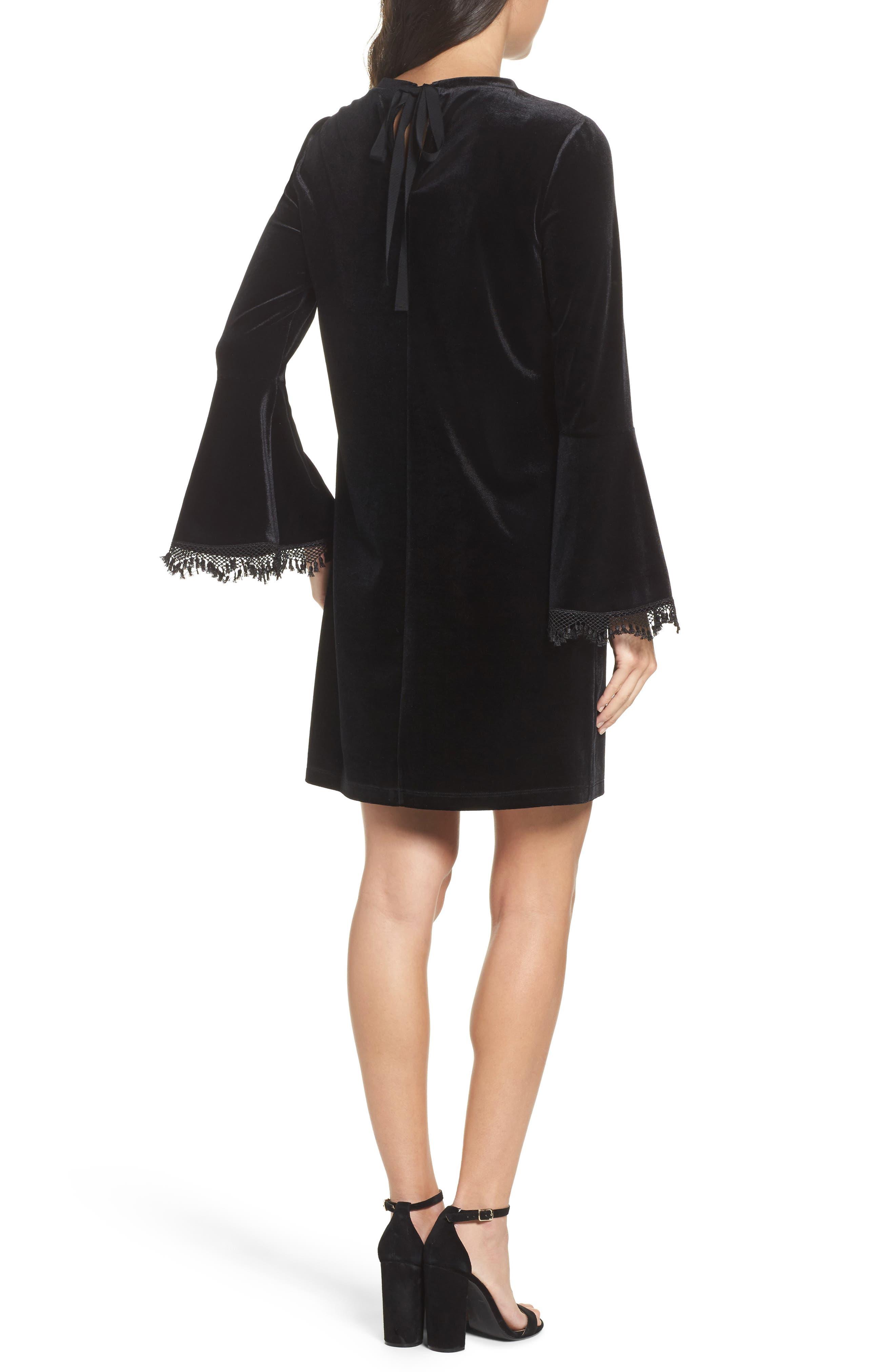 Hallie Bell Sleeve Velvet Dress,                             Alternate thumbnail 2, color,                             001