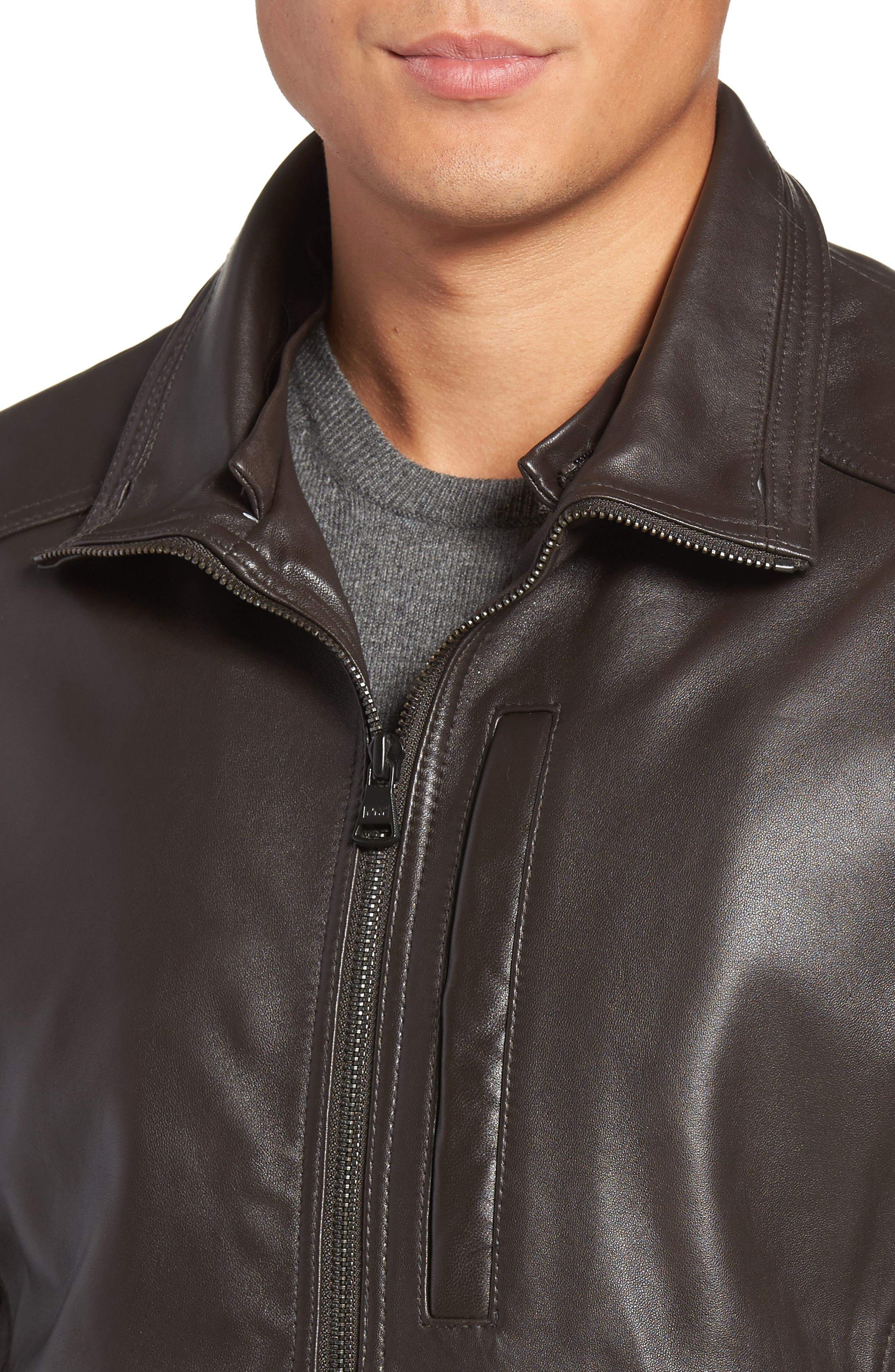 Lambskin Leather Jacket with Genuine Rabbit Fur Trim,                             Alternate thumbnail 8, color,