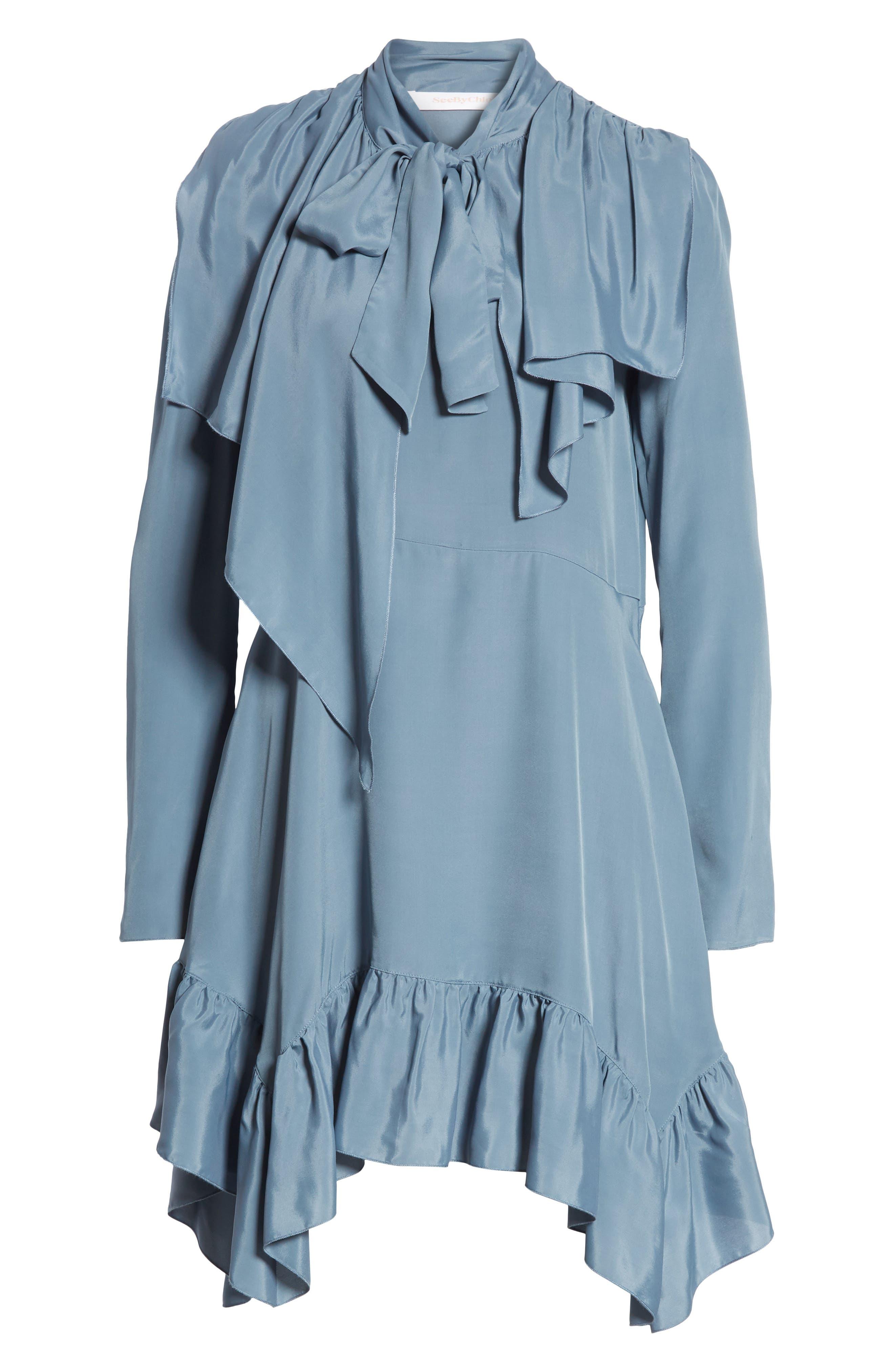 Tie Neck Ruffle Hem Dress,                             Alternate thumbnail 7, color,                             MIRAGE BLUE