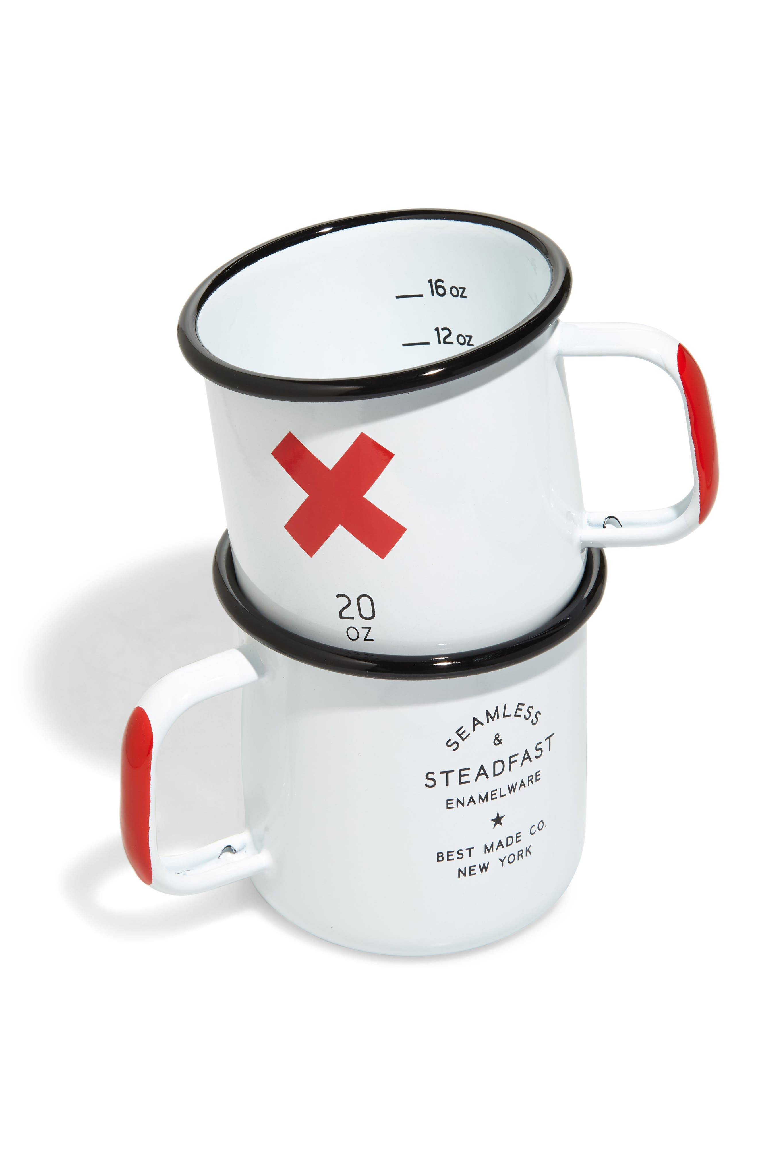 BEST MADE CO. Set of 2 Enameled Steel Mugs, Main, color, WHITE