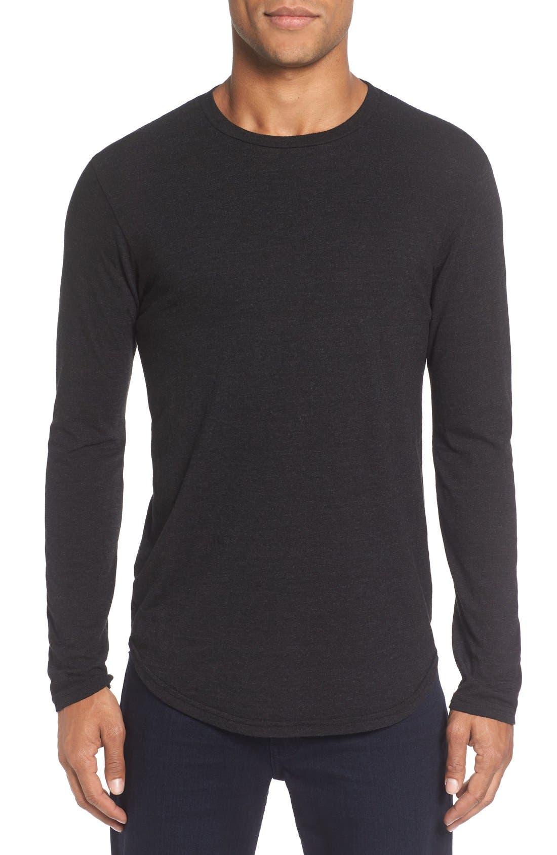 Triblend Scallop Long Sleeve Crewneck T-Shirt,                             Main thumbnail 1, color,                             BLACK