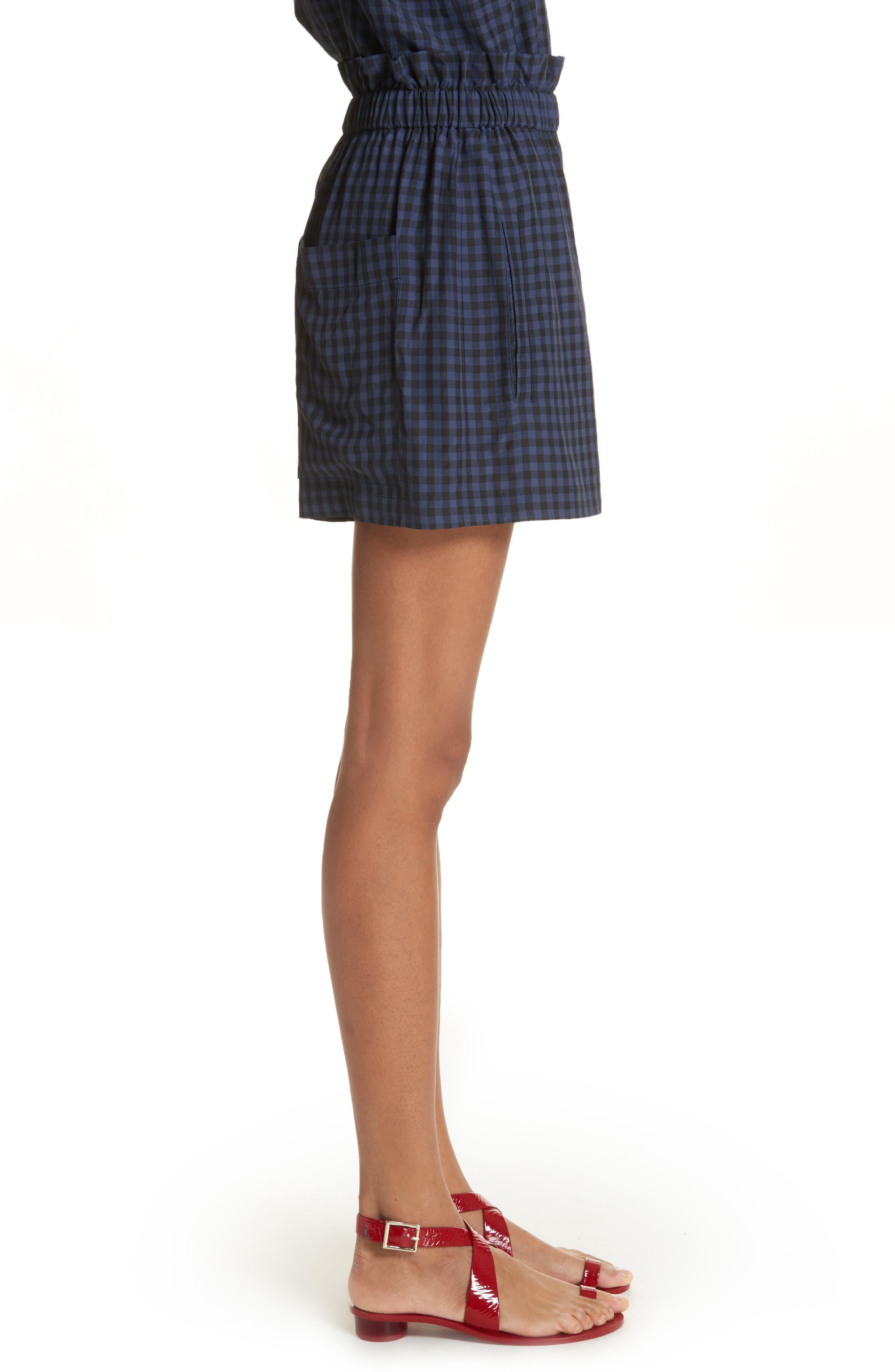 Gingham Paperbag Waist Shorts,                             Alternate thumbnail 3, color,                             NAVY MULTI