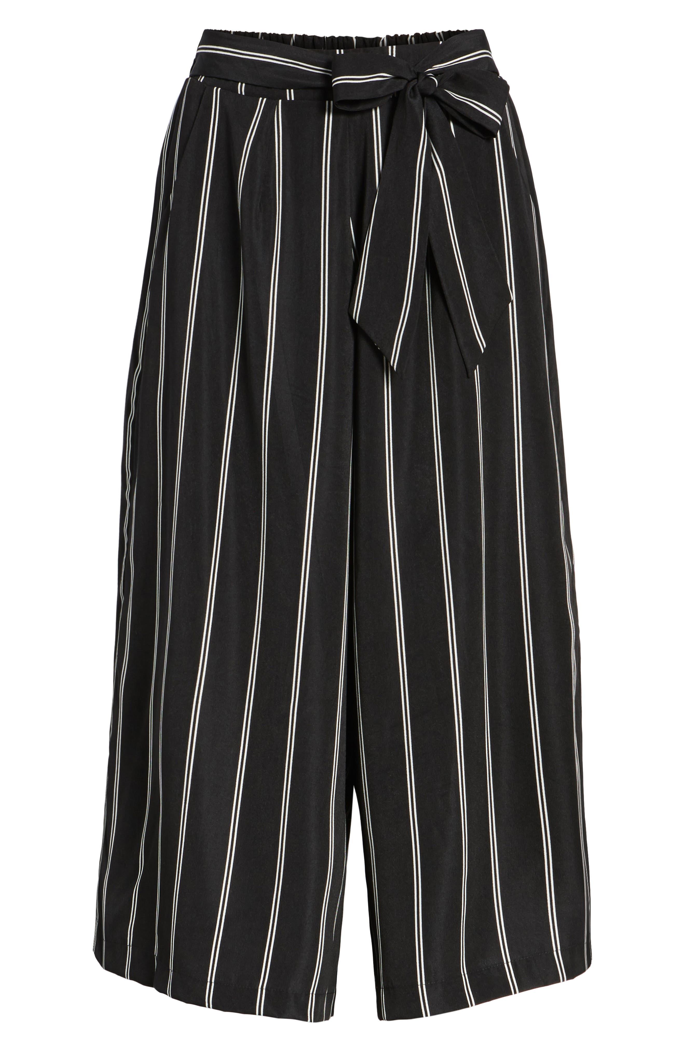 Stripe Tie Front Crop Pants,                             Alternate thumbnail 6, color,                             001