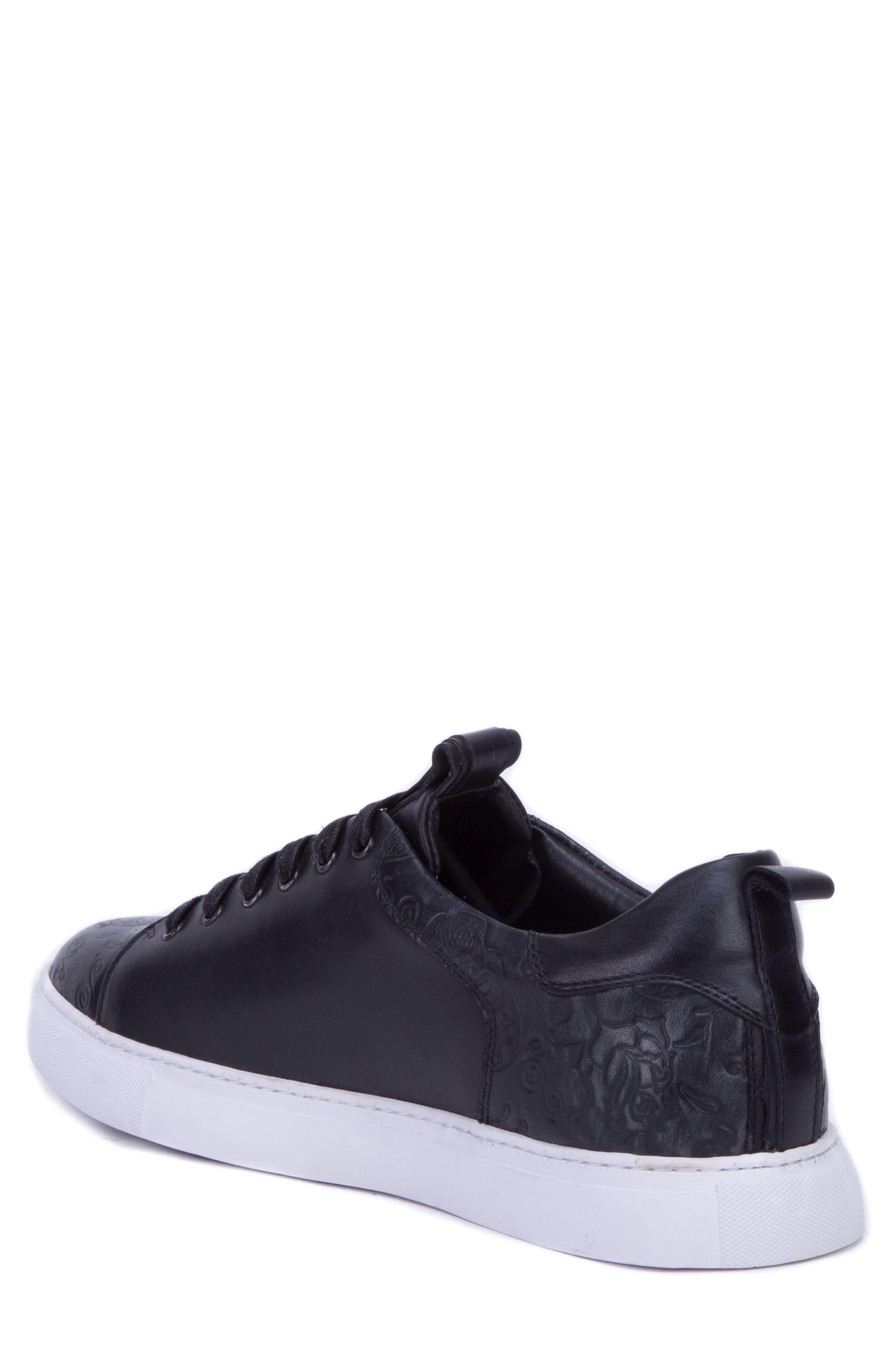 Sanderson Embossed Sneaker,                             Alternate thumbnail 2, color,                             BLACK LEATHER