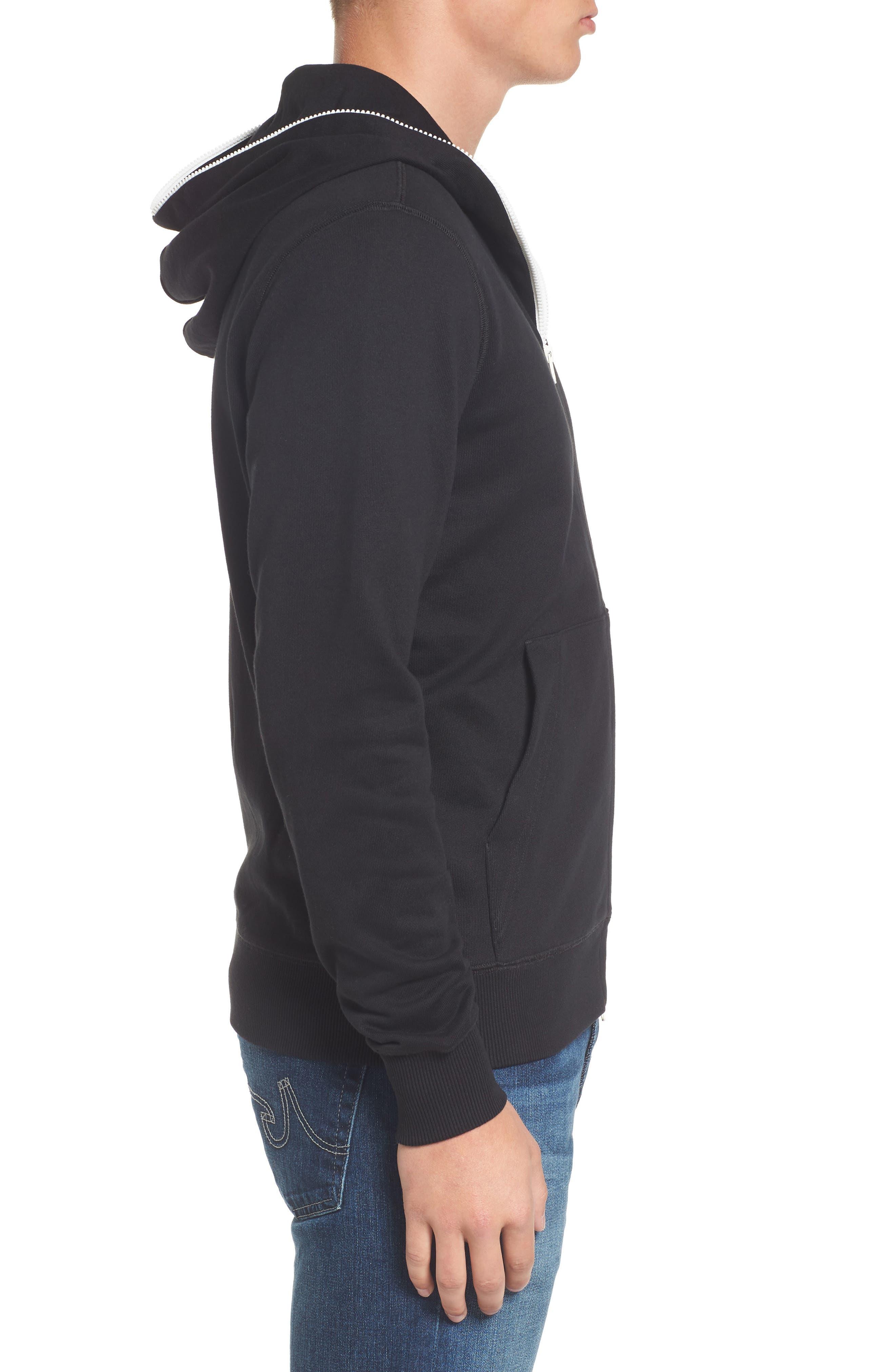 Fleece Zip Sweatshirt,                             Alternate thumbnail 3, color,                             001
