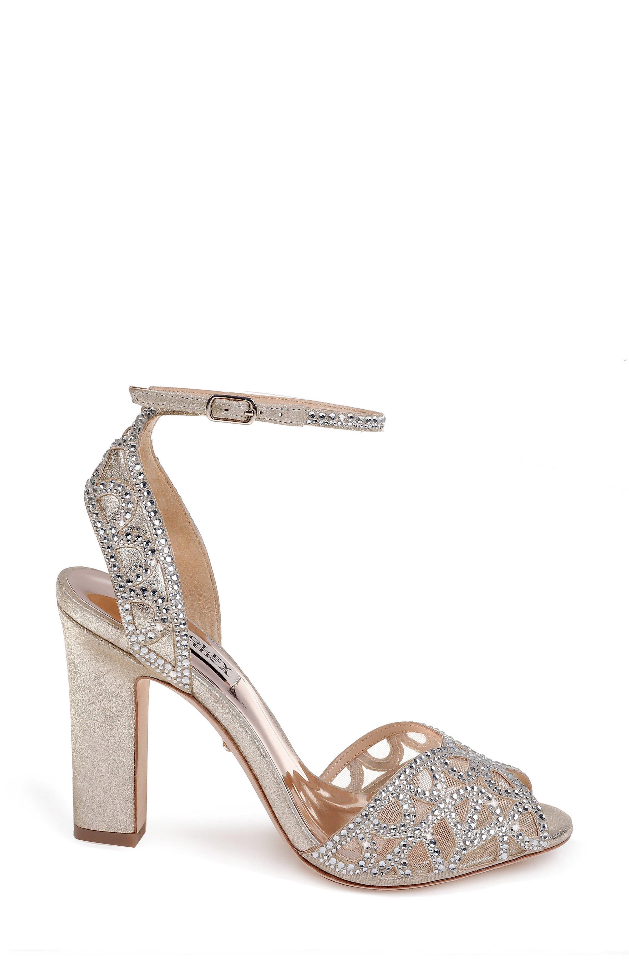 Badgley Mischka Hart Crystal Embellished Sandal,                             Alternate thumbnail 3, color,                             040
