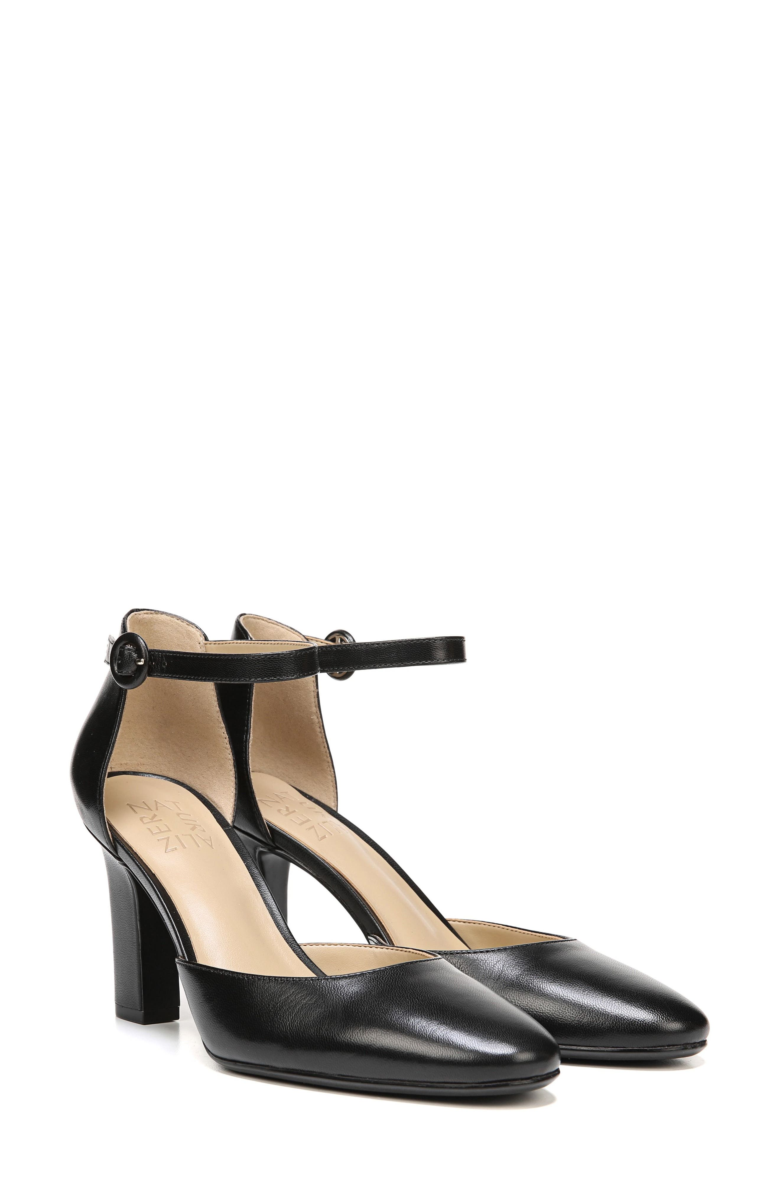 Gianna Ankle Strap Pump,                             Alternate thumbnail 7, color,                             BLACK LEATHER