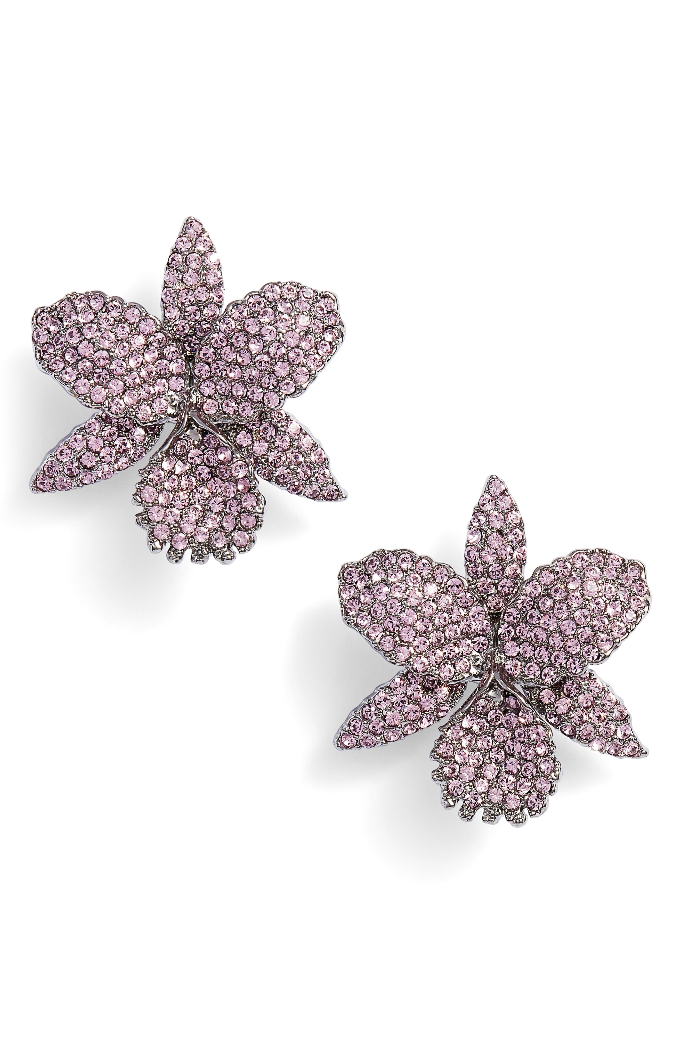 Large Orchid Swarovski Crystal Stud Earrings,                             Main thumbnail 1, color,                             BLACK/ LIGHT AMETHYST