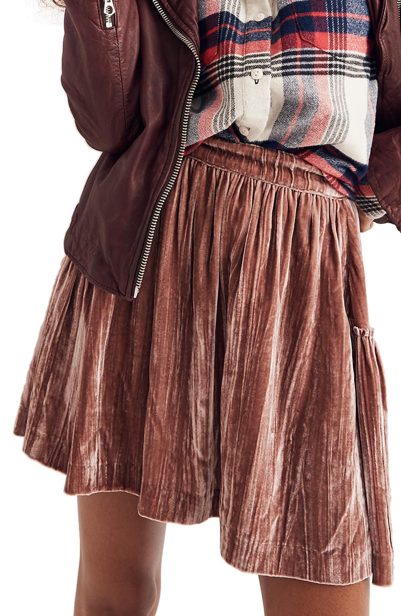Crushed Velvet Miniskirt,                             Main thumbnail 1, color,                             650
