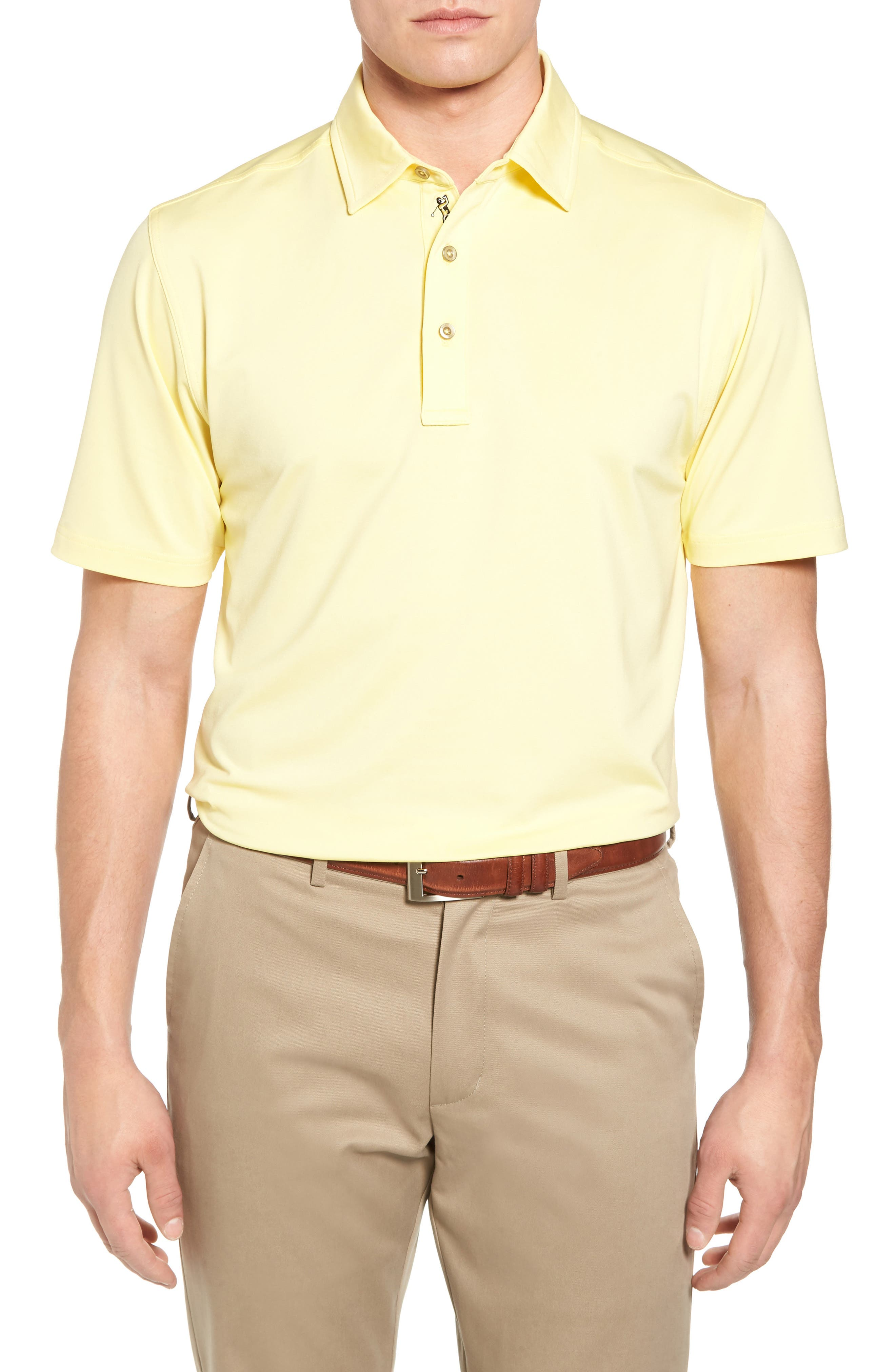 XH20 Regular Fit Stretch Golf Polo,                         Main,                         color, CANARY