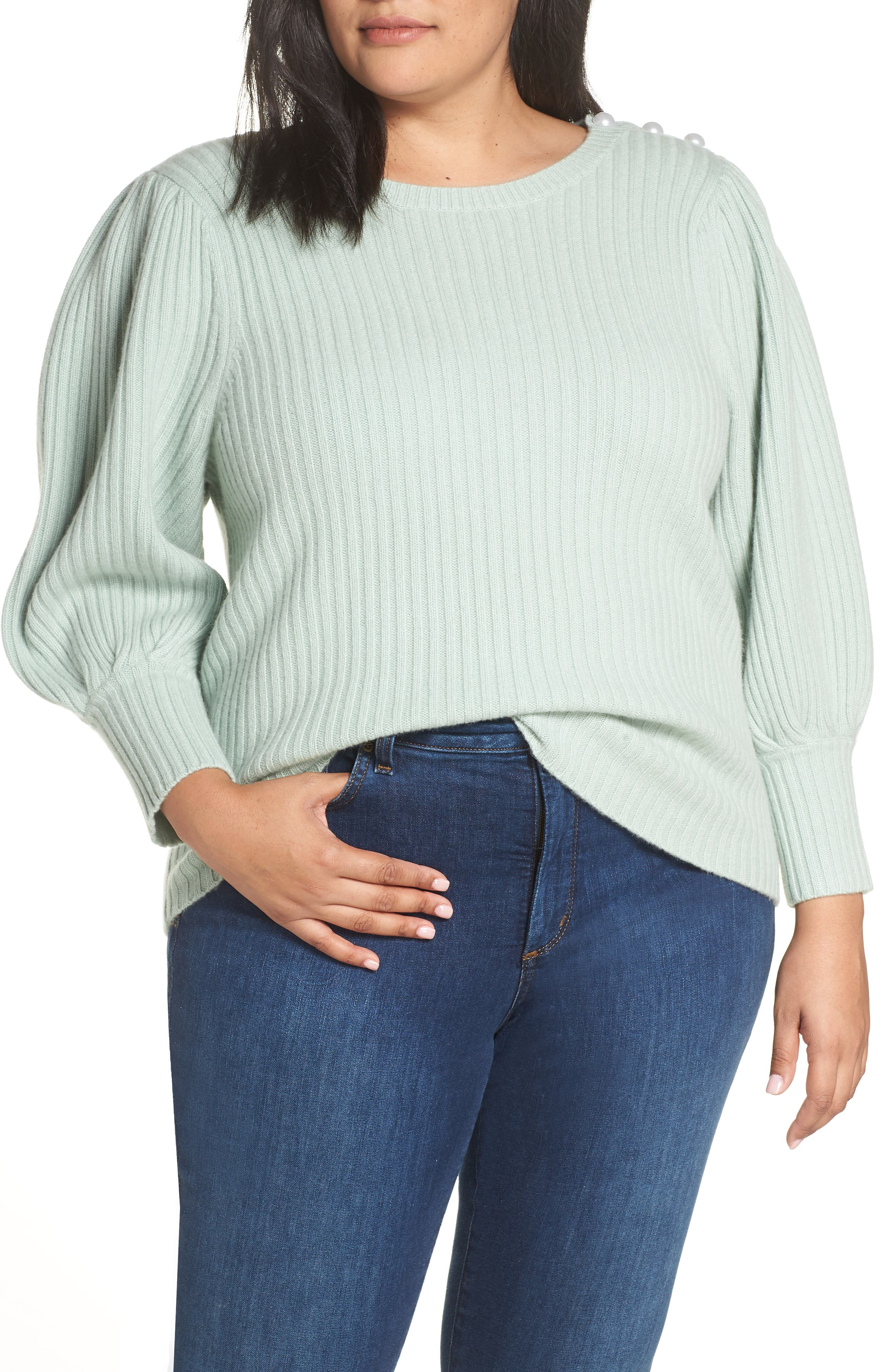 x Atlantic-Pacific Balloon Sleeve Wool & Cashmere Sweater,                             Main thumbnail 1, color,                             330