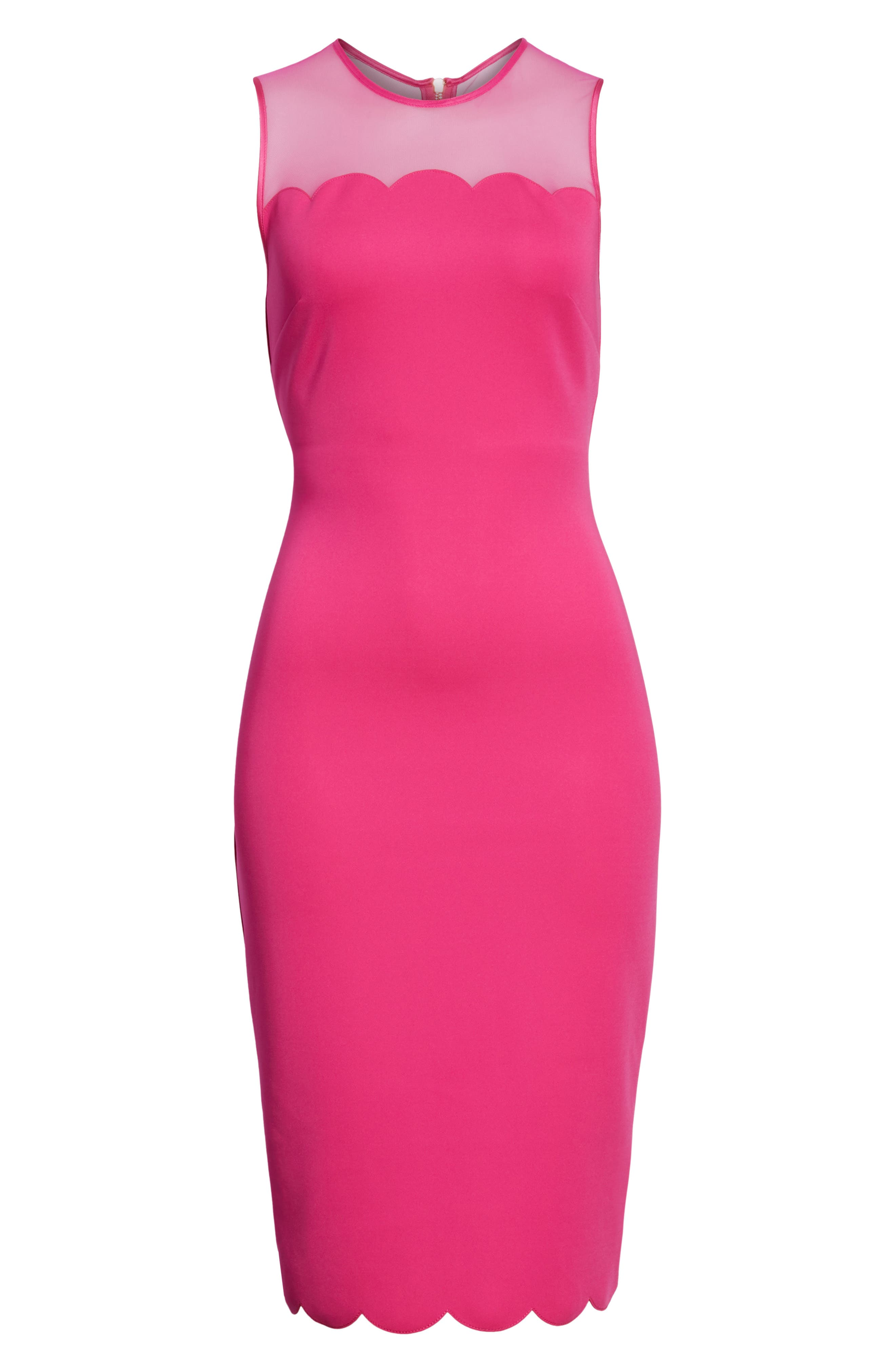 Scalloped Mesh Yoke Body-Con Dress,                             Alternate thumbnail 12, color,