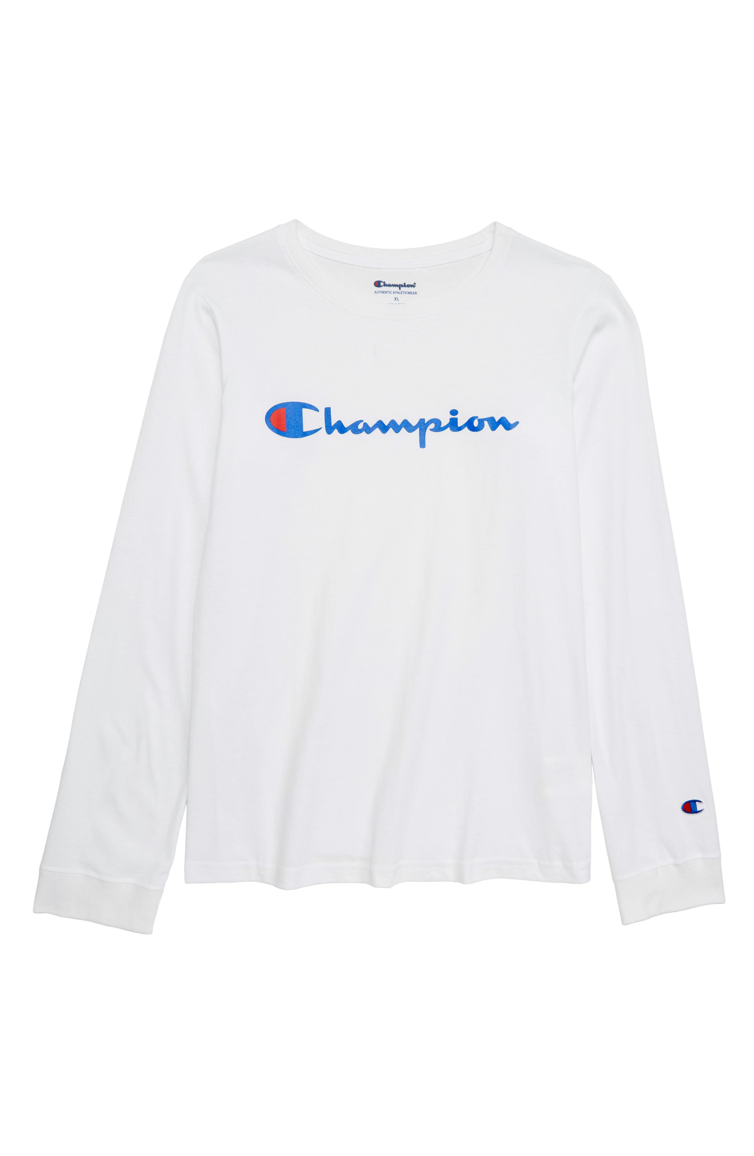 Heritage Long Sleeve Logo T-Shirt,                         Main,                         color, WHITE