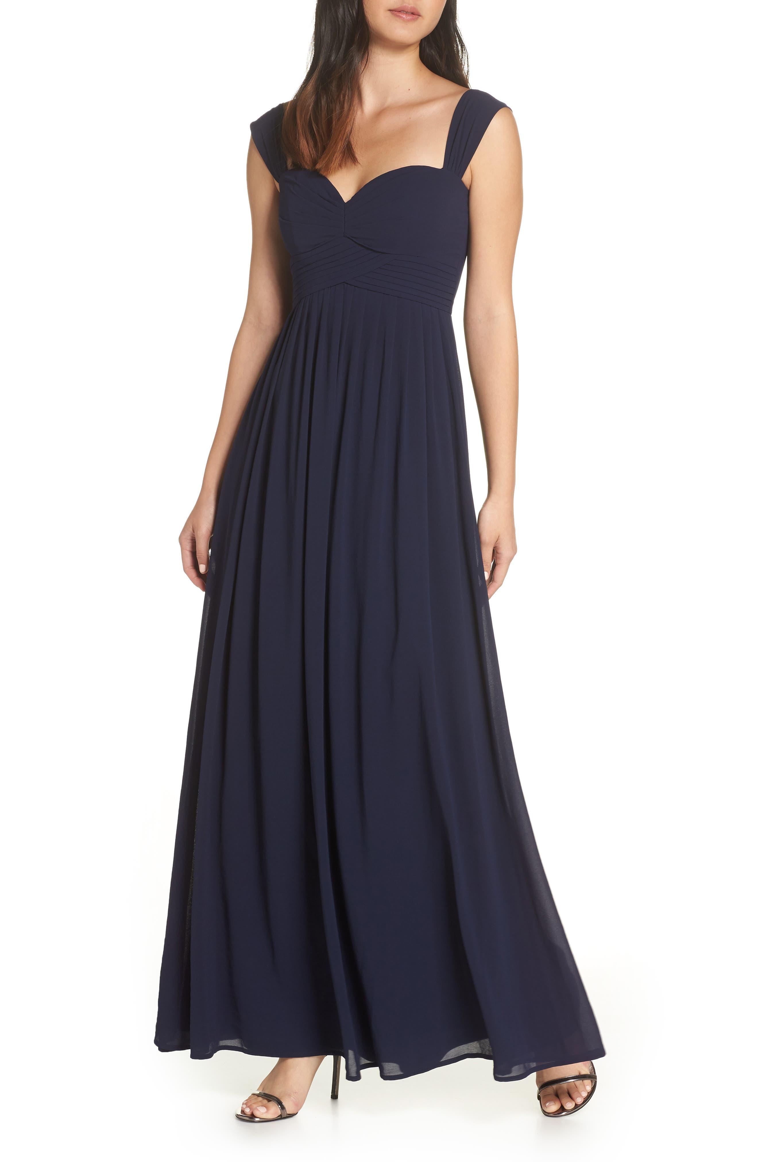 Lulus Convertible Neckline Chiffon Gown, Blue