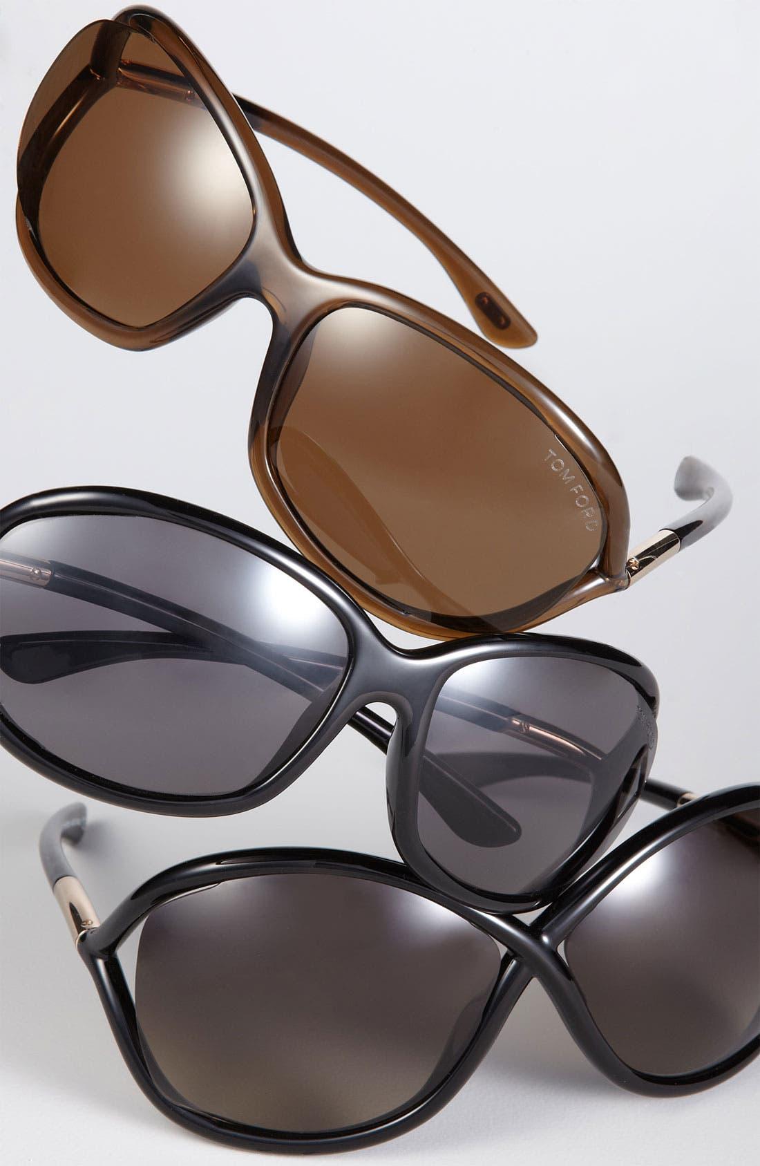 Jennifer 61mm Polarized Open Temple Sunglasses,                             Alternate thumbnail 4, color,                             SHINY BLACK/ GREY POLARIZED