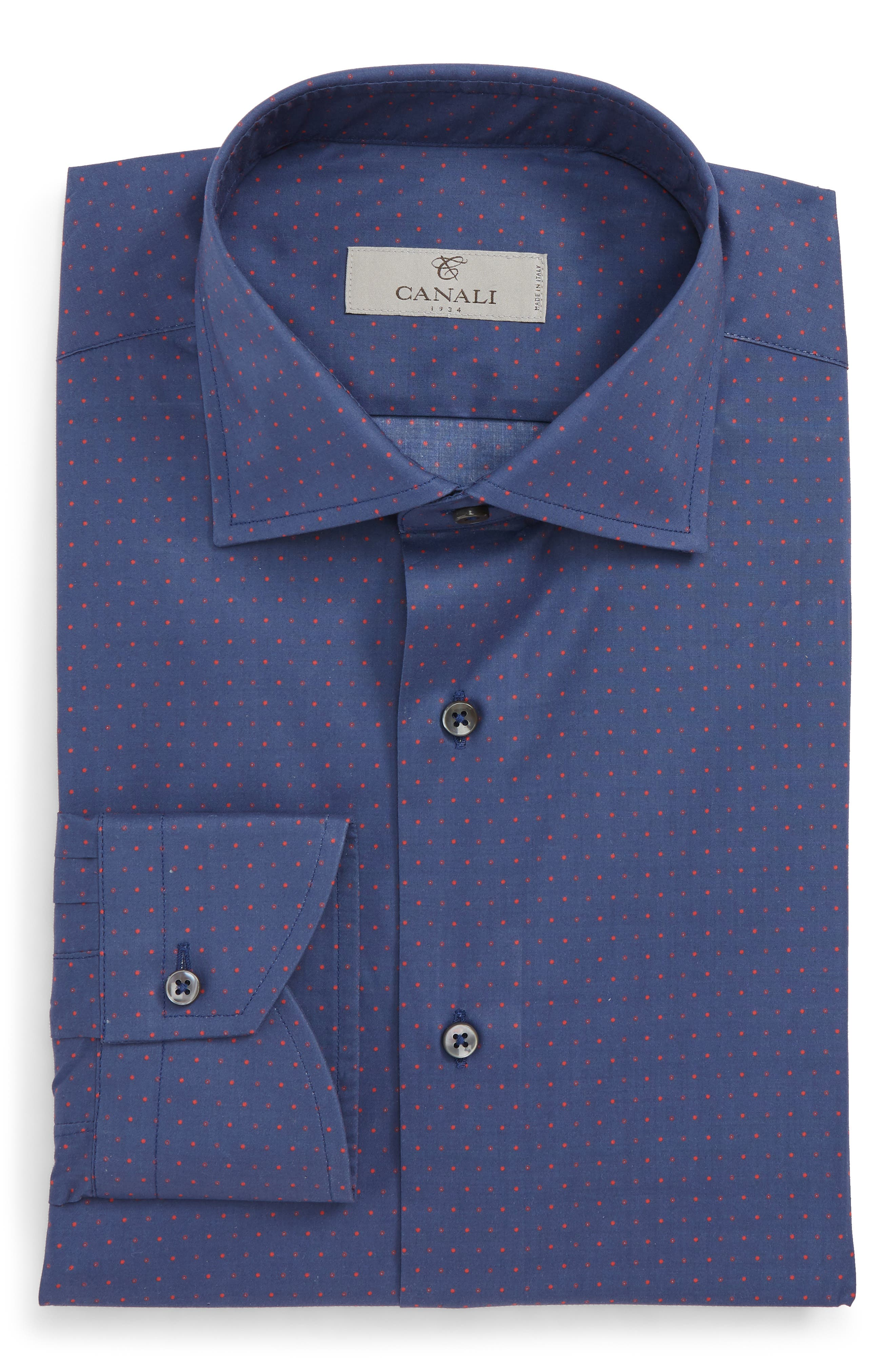 Regular Fit Dot Dress Shirt,                             Alternate thumbnail 6, color,                             DARK BLUE