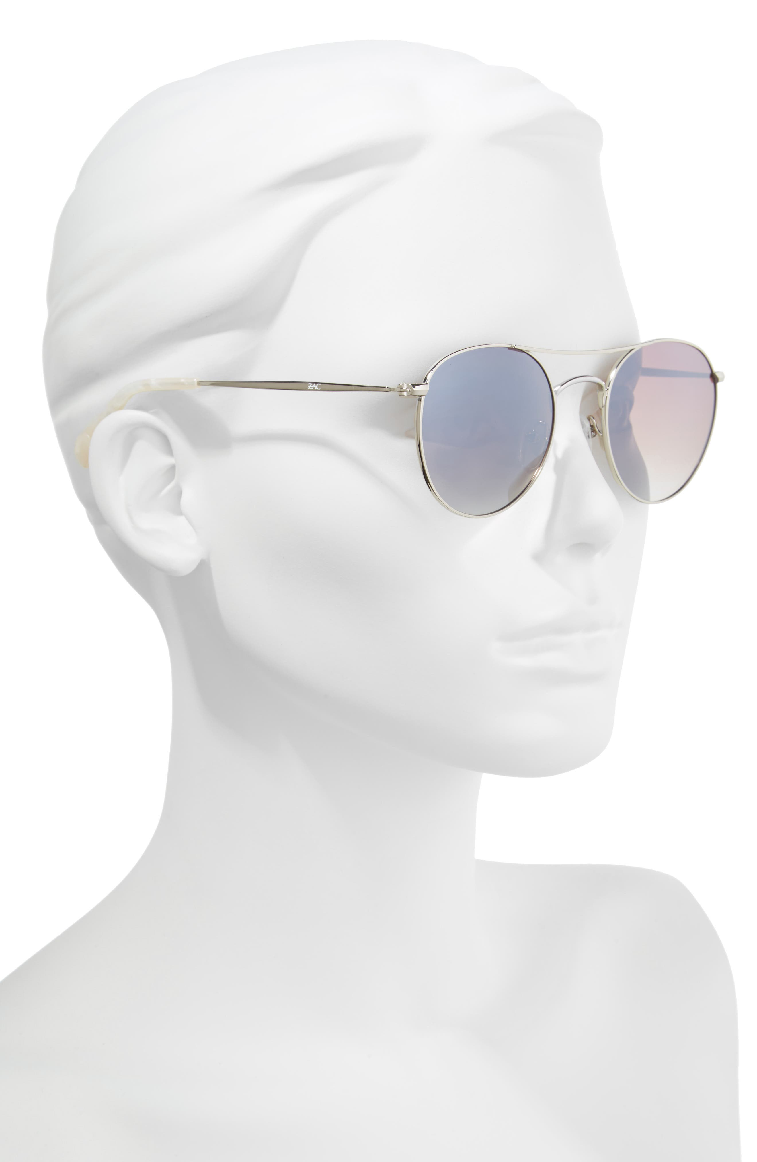 Juno 52mm Polarized Metal Aviator Sunglasses,                             Alternate thumbnail 2, color,                             SILVER POLAR/ BROWN